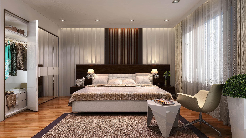 HDoboi.Kiev.ua - Дизайн интерьера просторной спальни, кровать, шкаф