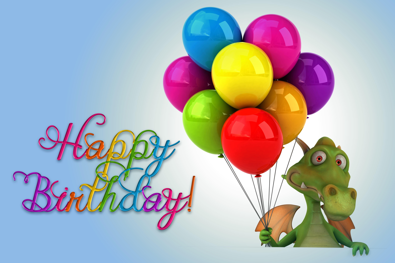 Зеленый дракоша с шариками в День рождения, прикольные картинки с надписями обои, 6000 на 4000 пикселей
