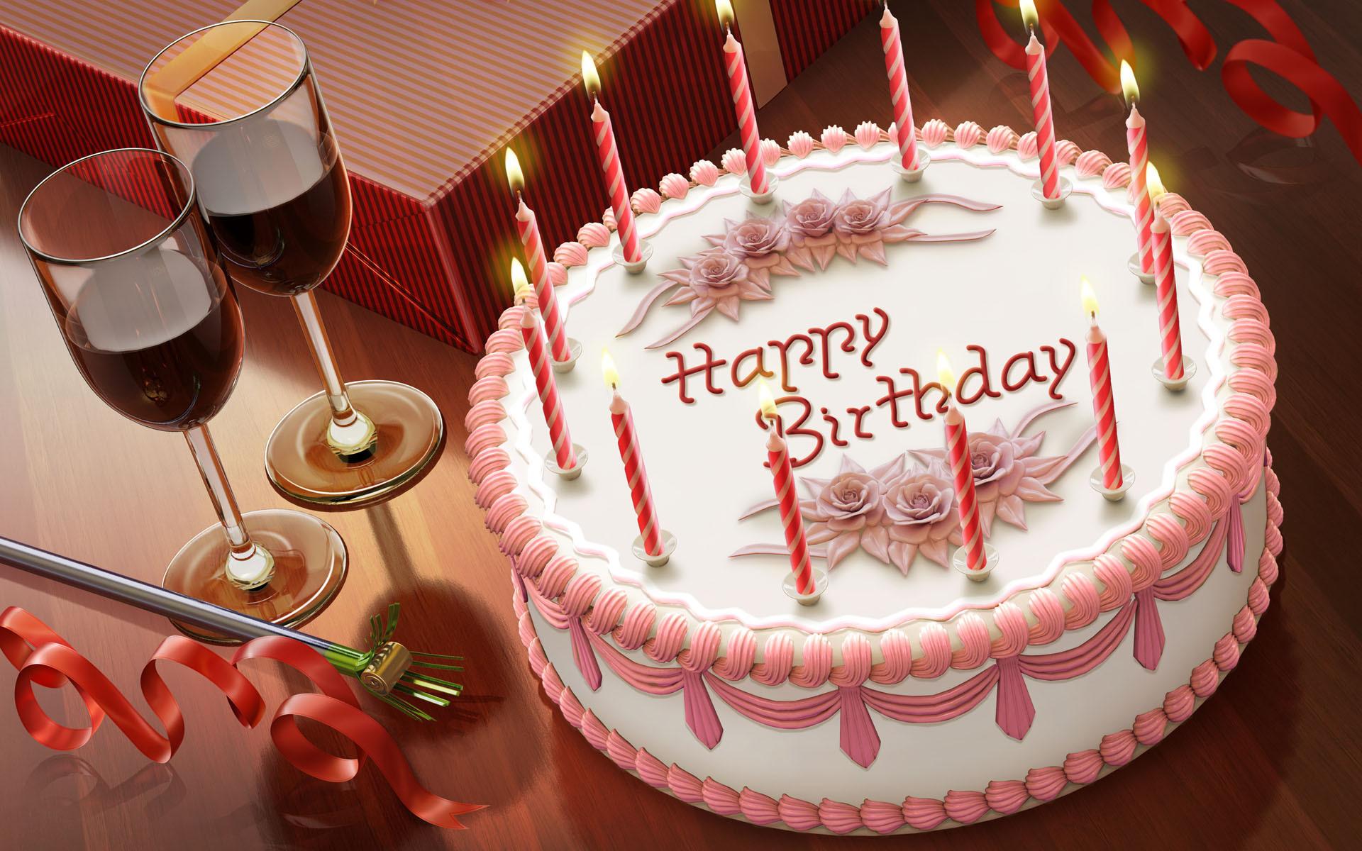 Вино и торт на День Рождения, широкоформатные обои прикольные, 1920 на 1200 пикселей