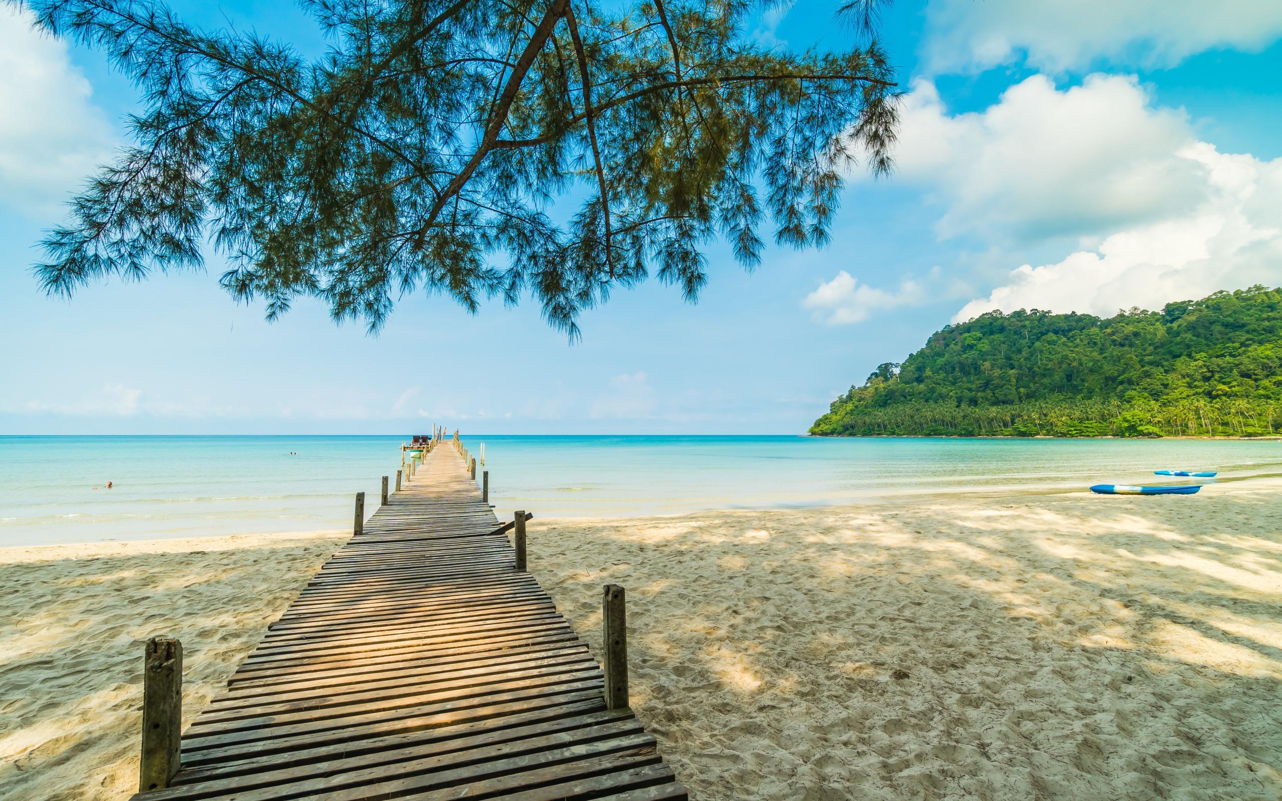 Деревянный пирс в море, обои лето море пляж, full hd, 2560 на 1600 пикселей