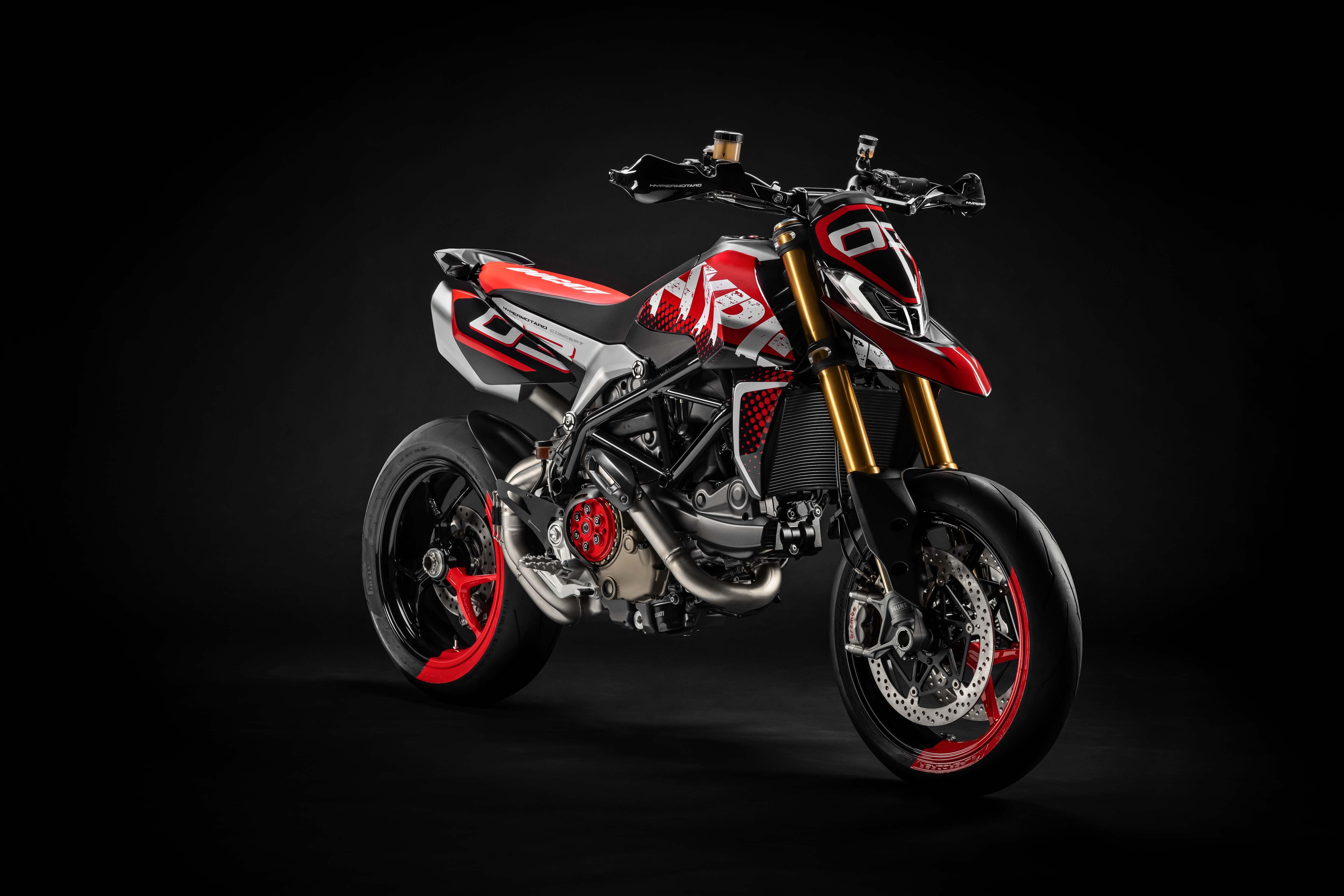 HDoboi.Kiev.ua - Ducati Hypermotard 950 на черном фоне, заставка HD ultra 5k