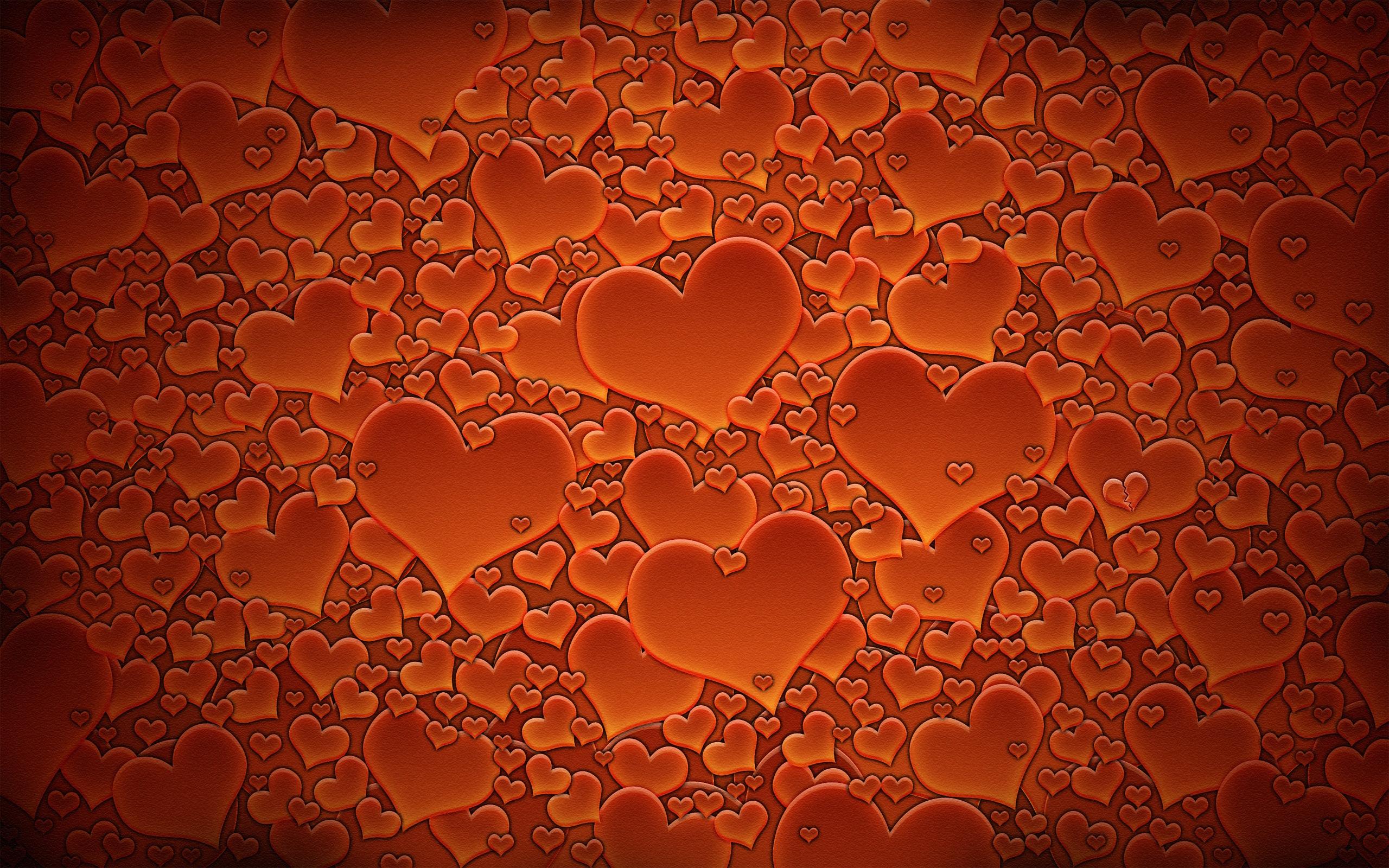 HDoboi.Kiev.ua - День святого Валентина картинка обои рабочего стола, оранжевые сердца, 14 февраля