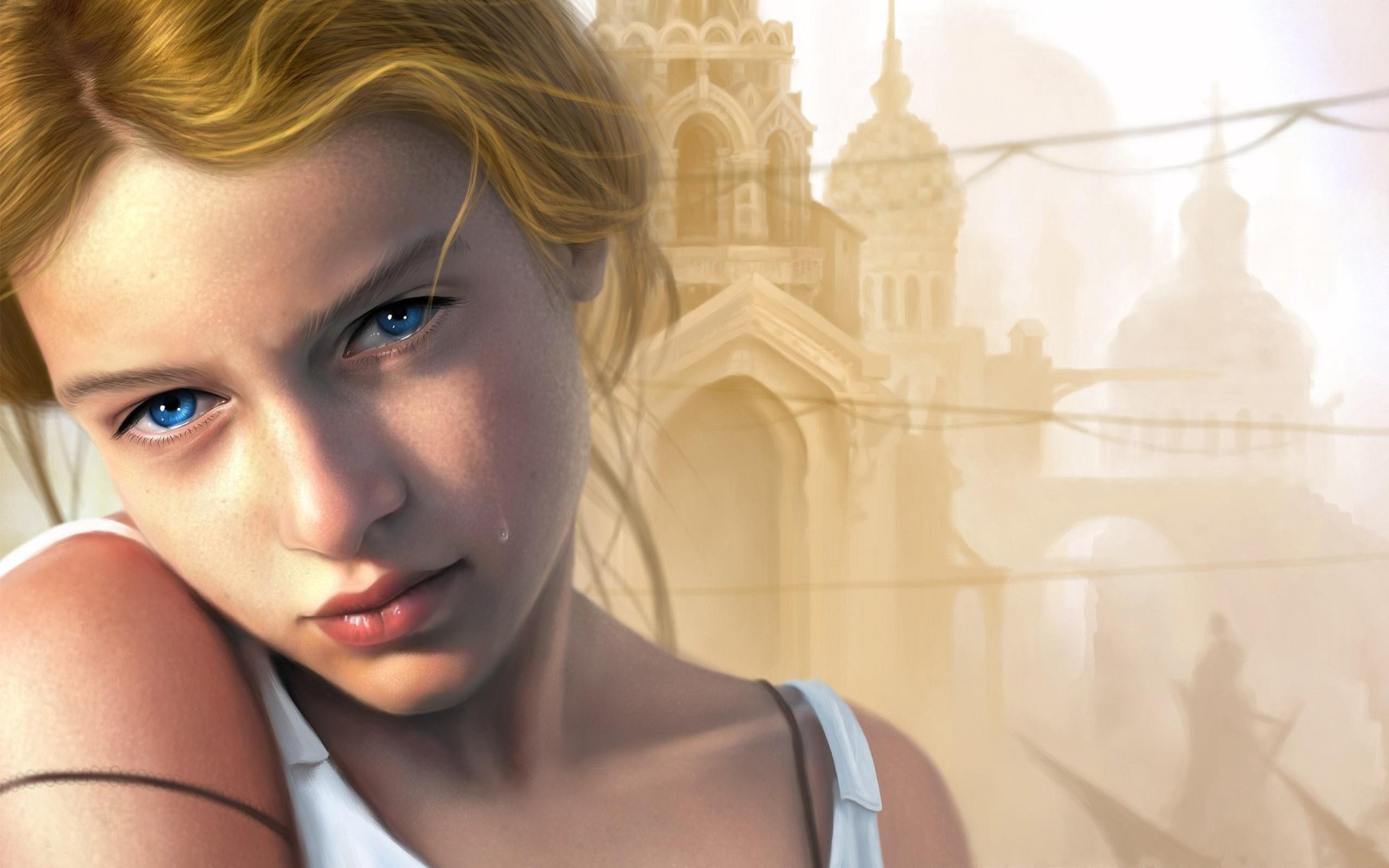 HDoboi.Kiev.ua - Голубоглазая девушка плачет, обои на рабочий стол лица девушек