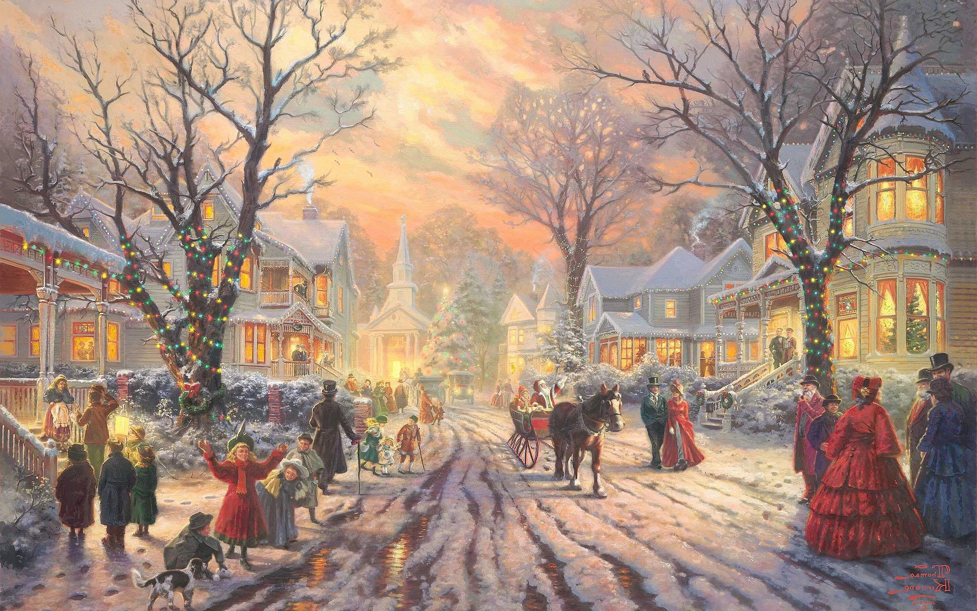 Яркие Рождественские огни в деревне, новогодние обои на Рождество, 1920 на 1200 пикселей
