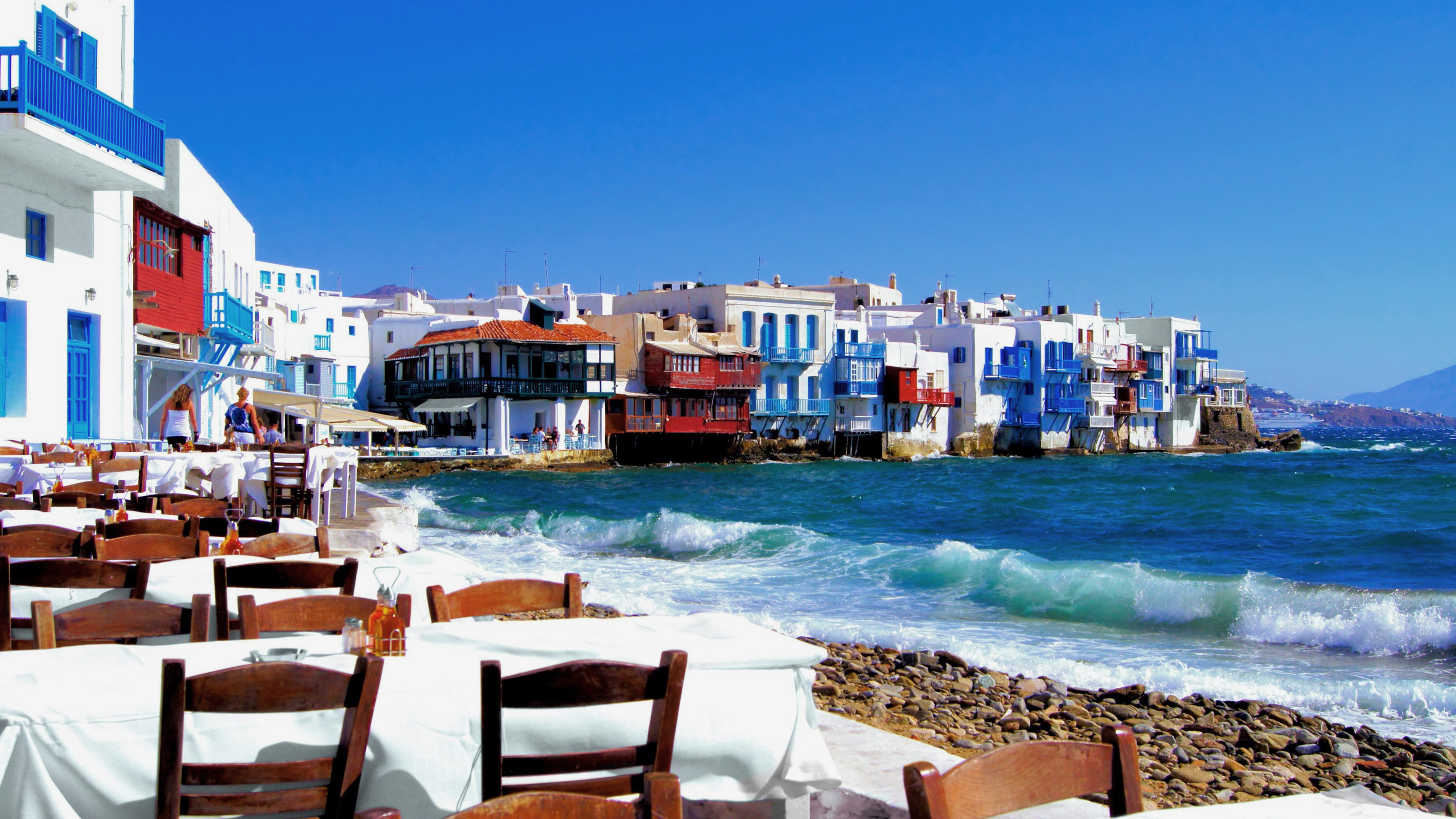 море обои для стола, кафешка, Греция, природа, 3840 на 2160 пикселей