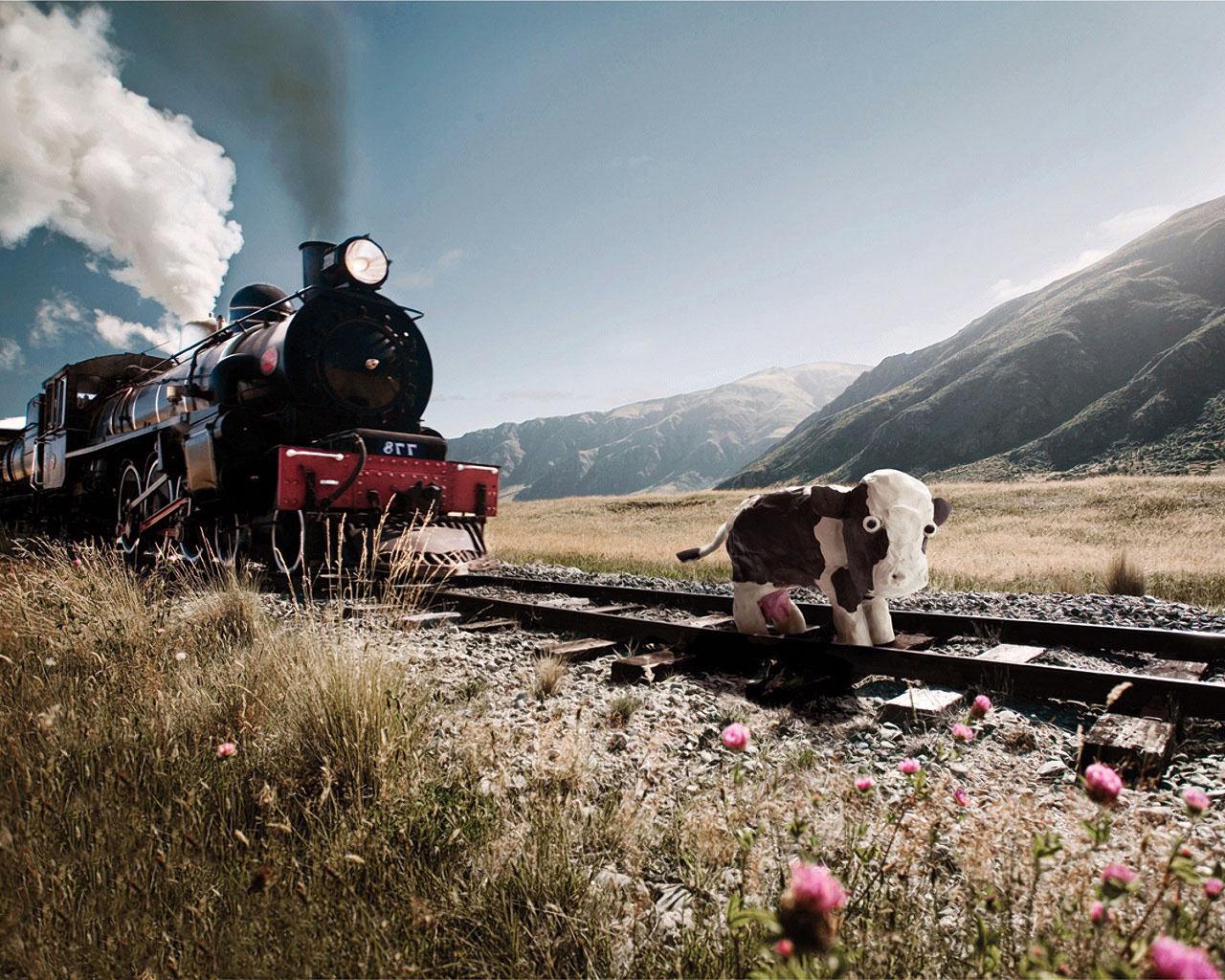 Поезд хочет задавить корову, прикольные обои для iphone x, 1280 на 1024 пикселей
