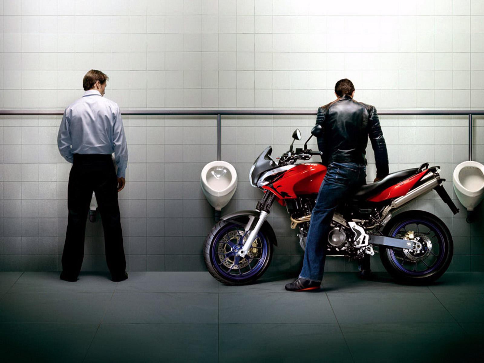 Мужик на мотоцикле в туалете, прикольные обои на айфон х, 1600 на 1200 пикселей