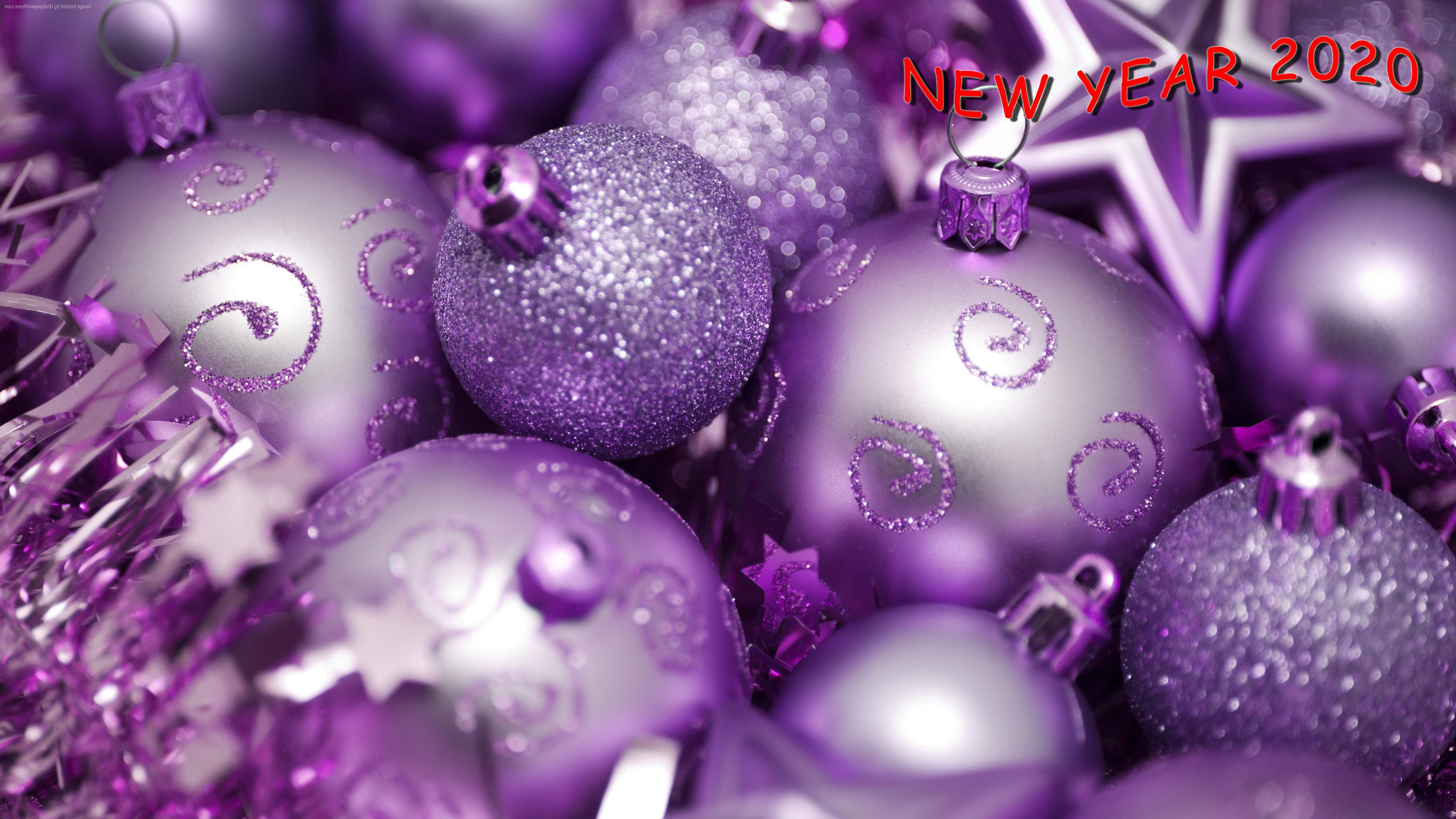 HDoboi.Kiev.ua - Новогодние фиолетовые шары, новые обои на андроид 2019 года