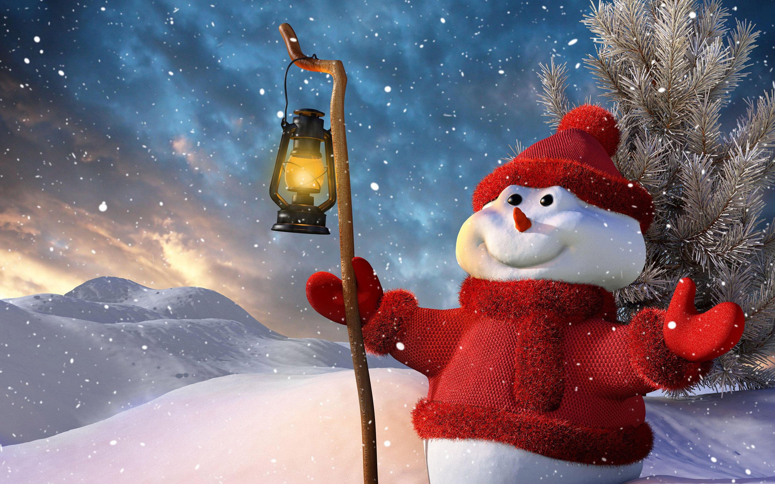 Снеговик, обои рабочий стол зима новый год, 2560 на 1600 пикселей