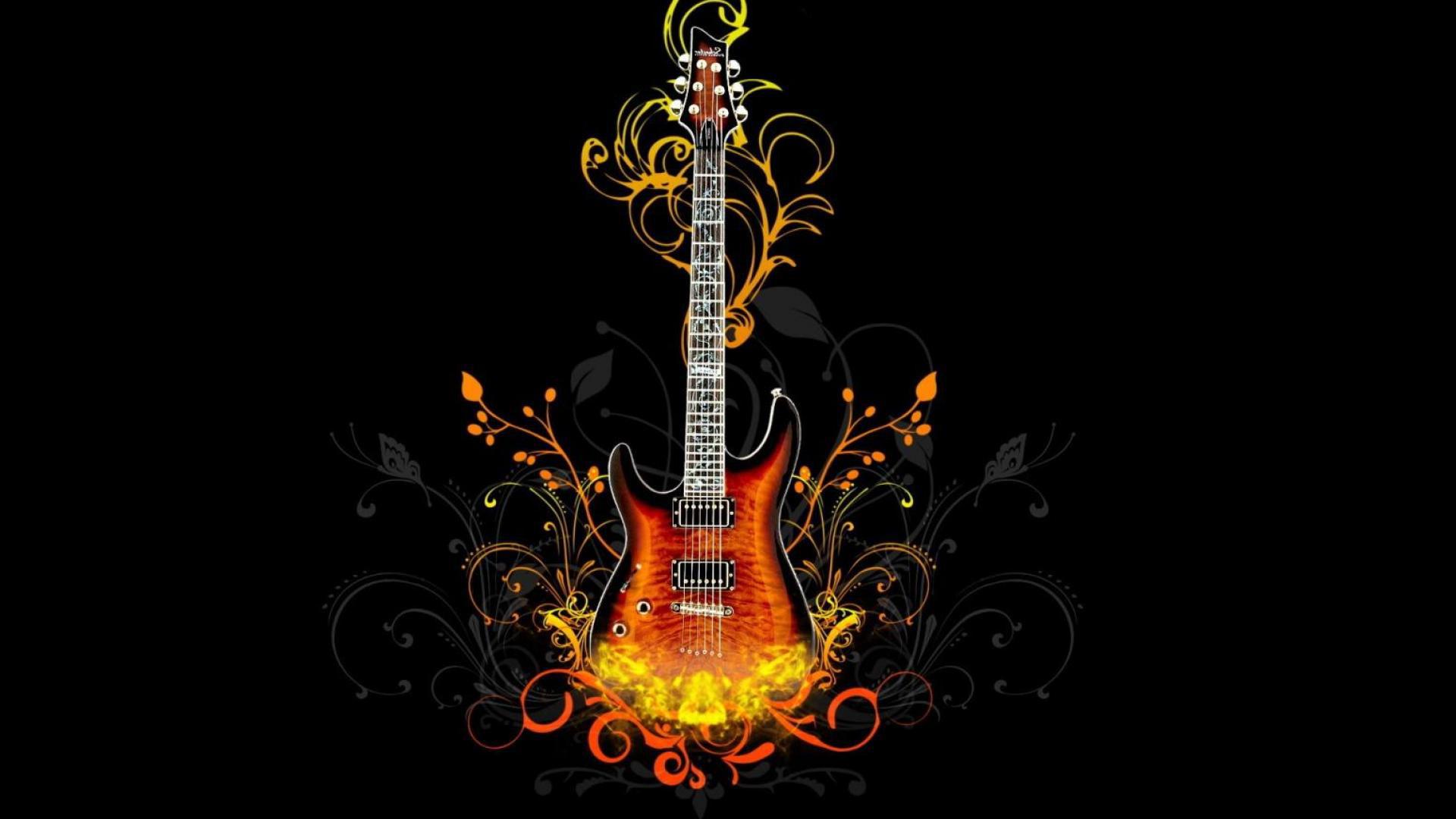 Гитара с оранжевым рисунком на черном фоне, музыка, 1920 на 1080 пикселей