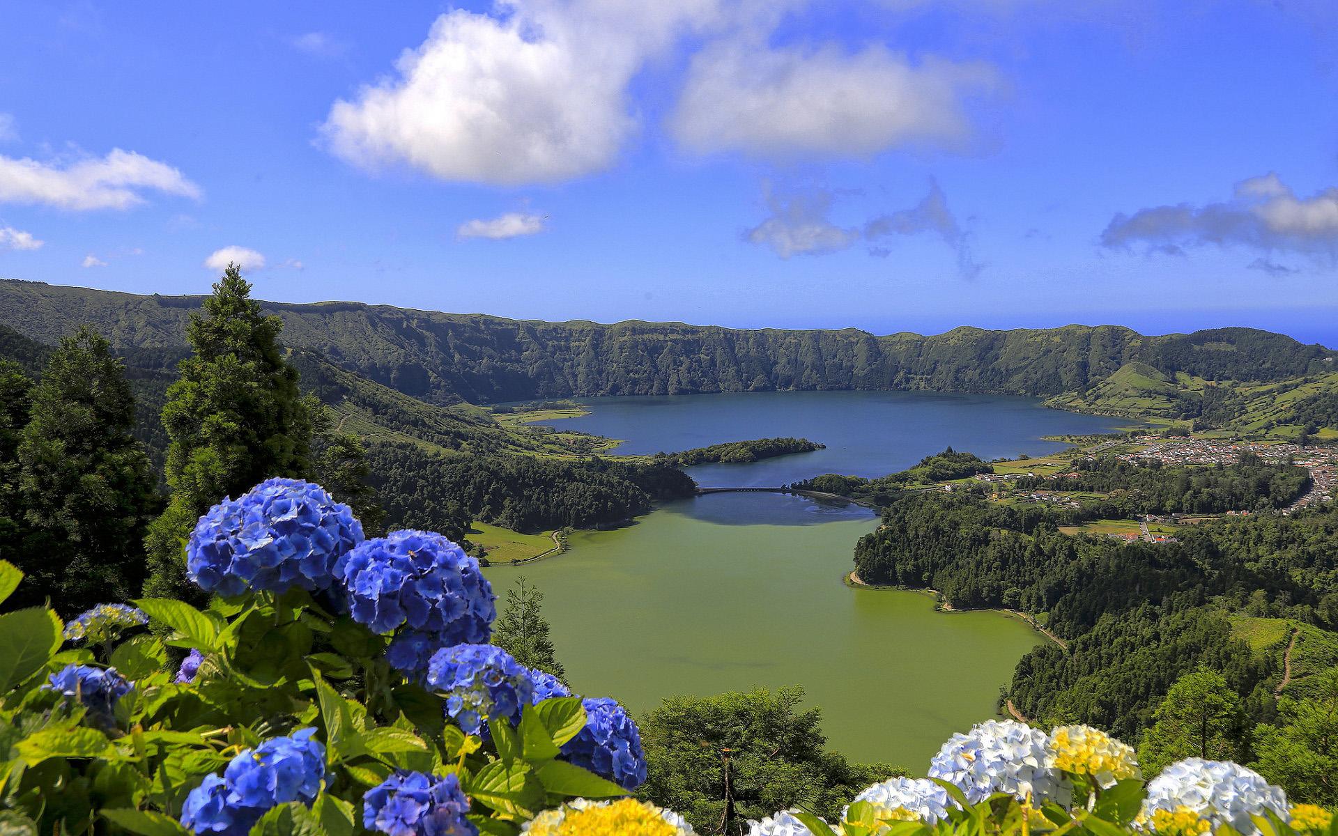 HDoboi.Kiev.ua - Остров Сан-Мигель, Азорские острова, Португалия, озеро, горы, цветы, природа