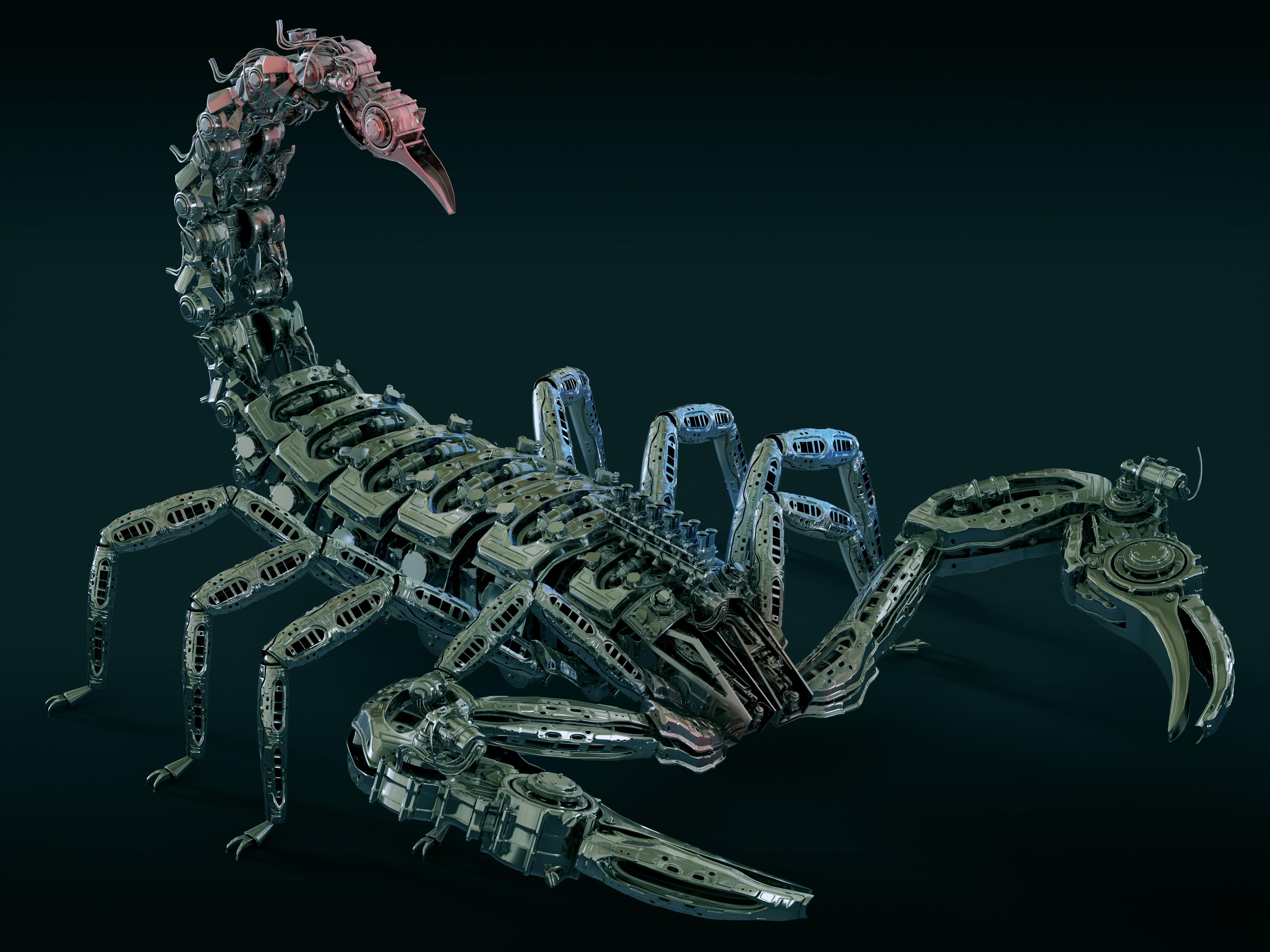 скорпион, 3д графика, робот, металлический, 4k ultra hd, 3d обои, 4800 на 3600 пикселей