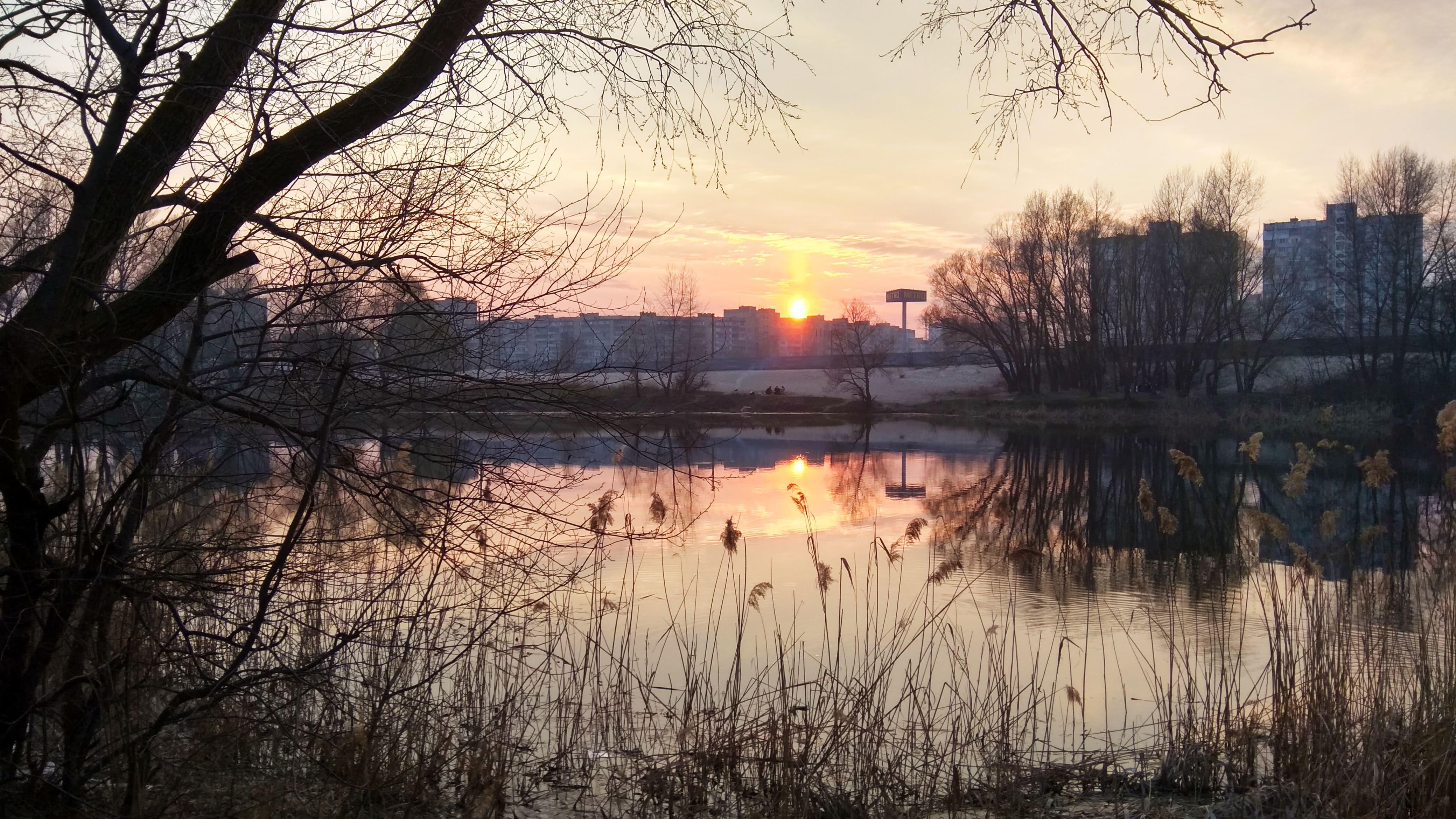 HDoboi.Kiev.ua - Красивый закат в городе Киев, 4k Ultra HD, скачать пейзажи природы обои
