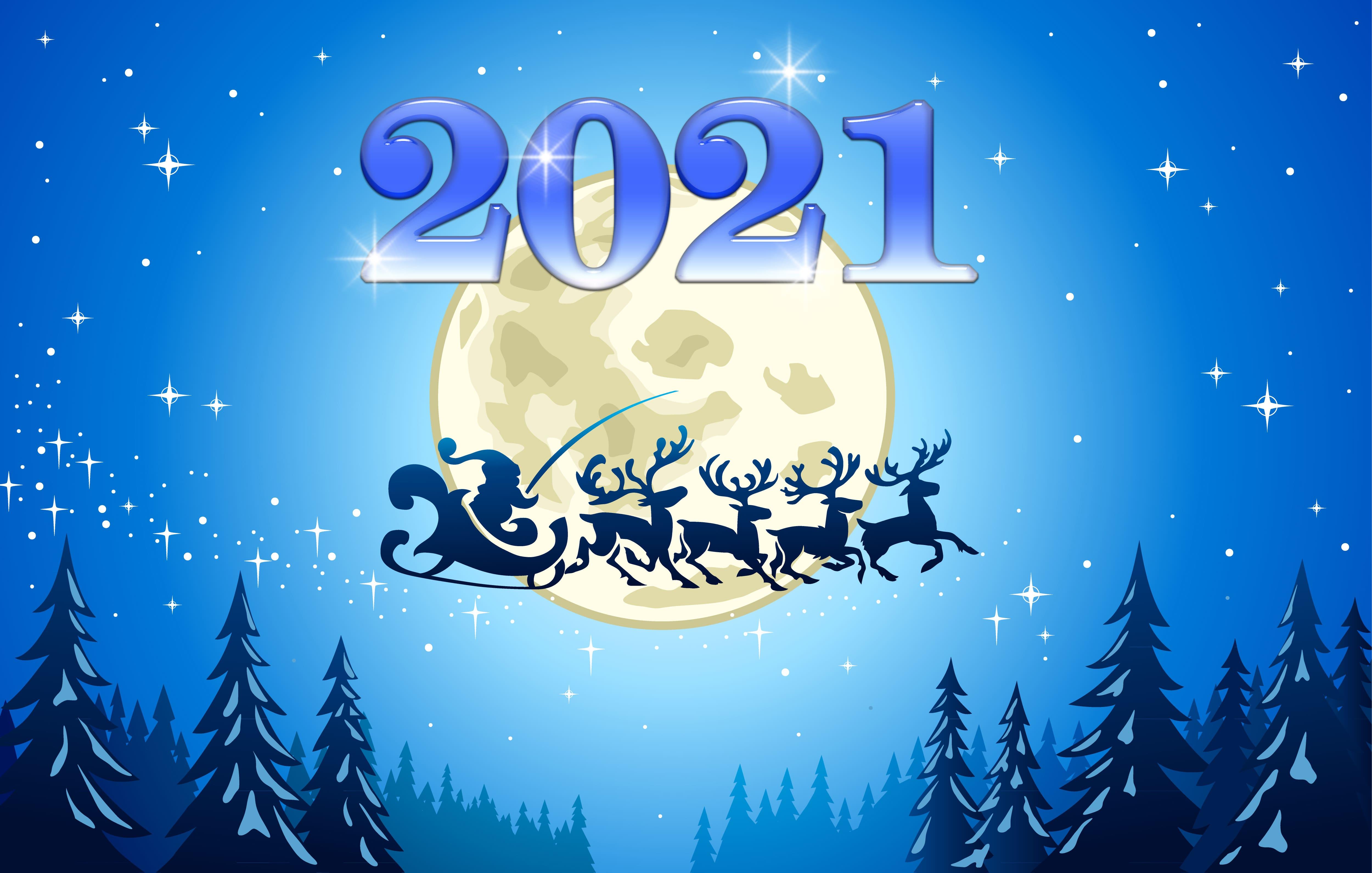 HDoboi.Kiev.ua - Санта Клаус, олени в небе, обои на телефон зима Новый Год 2021