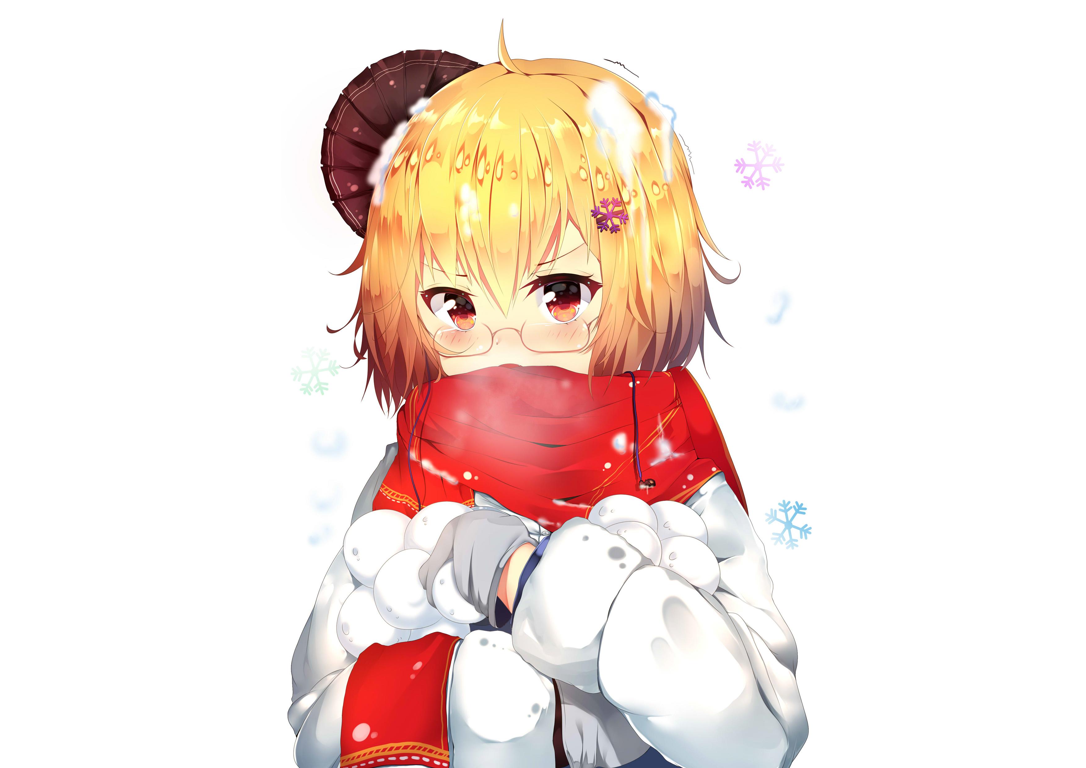 Аниме девушка со снежками в руках, хентай обои, 3508 на 2480 пикселей