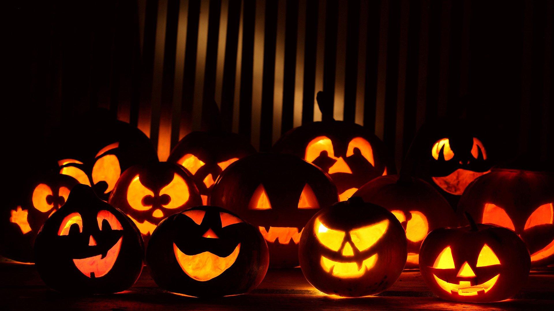 Светящийся тыквы на Хэллоуин, 1920 на 1080 пикселей