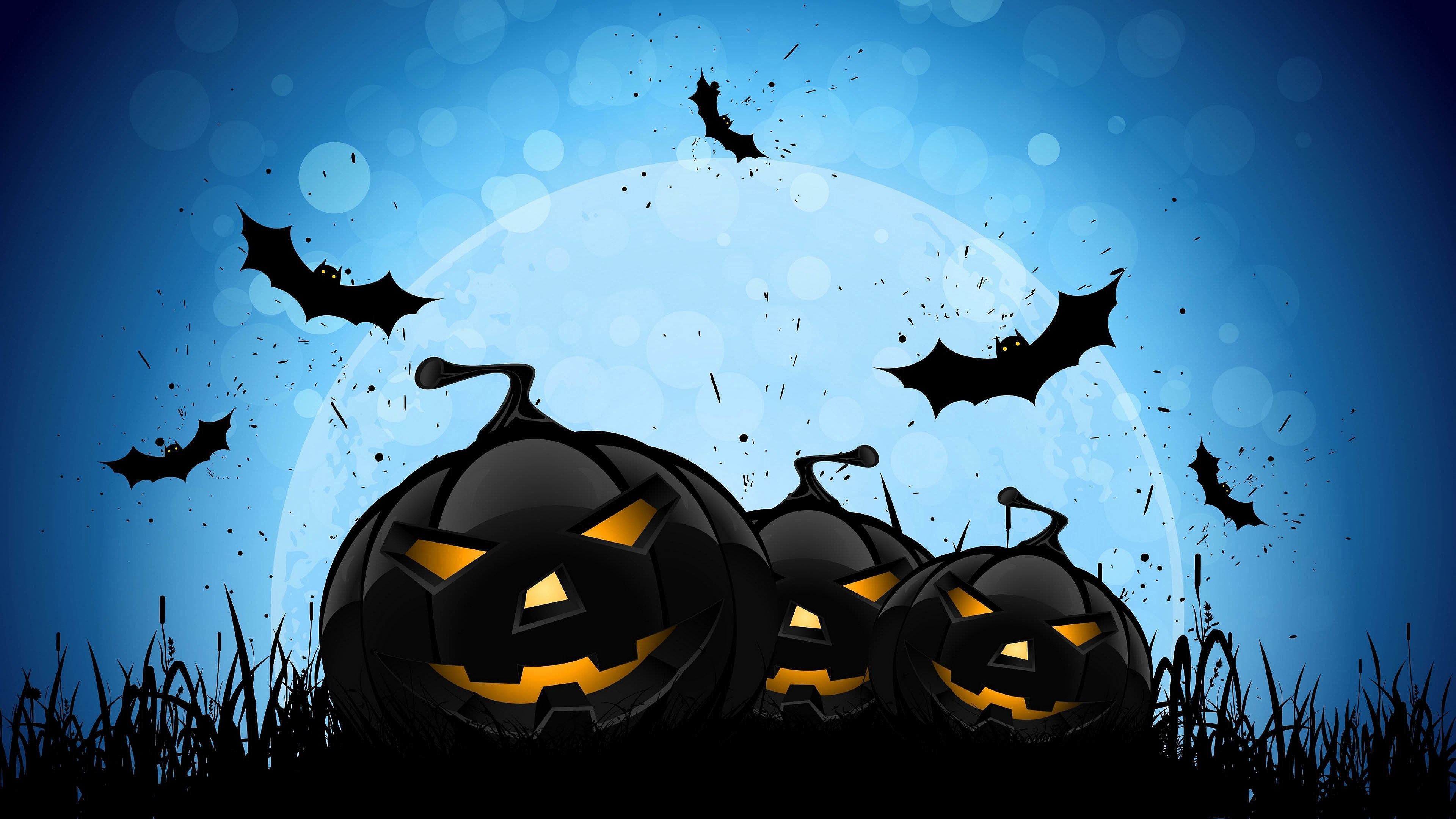 Злые черные тыквы с летучими мышами на Хеллоуин, 3840 на 2160 пикселей