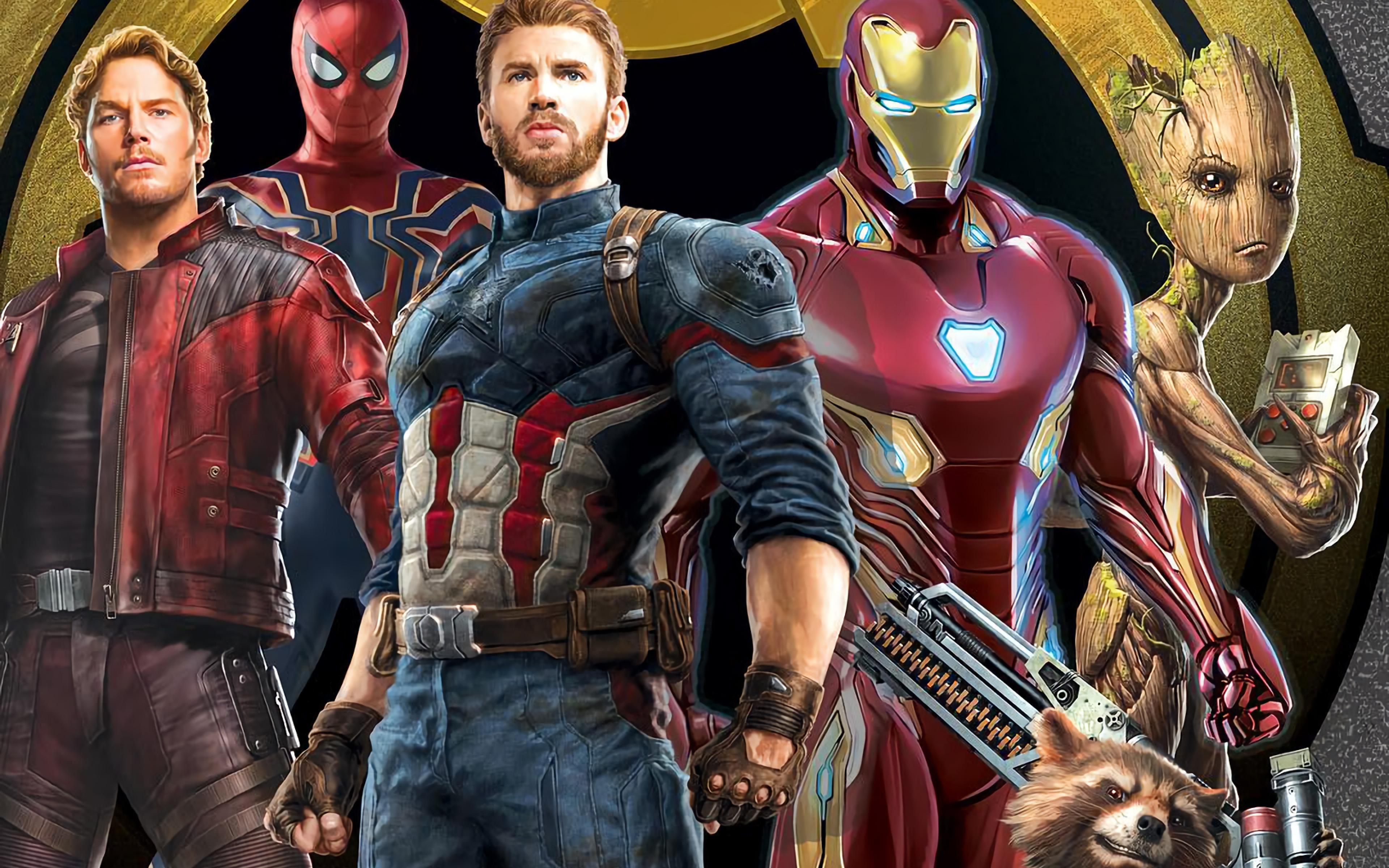Война Бесконечности 4к, обои со мстителями на телефон, 3840 на 2400 пикселей