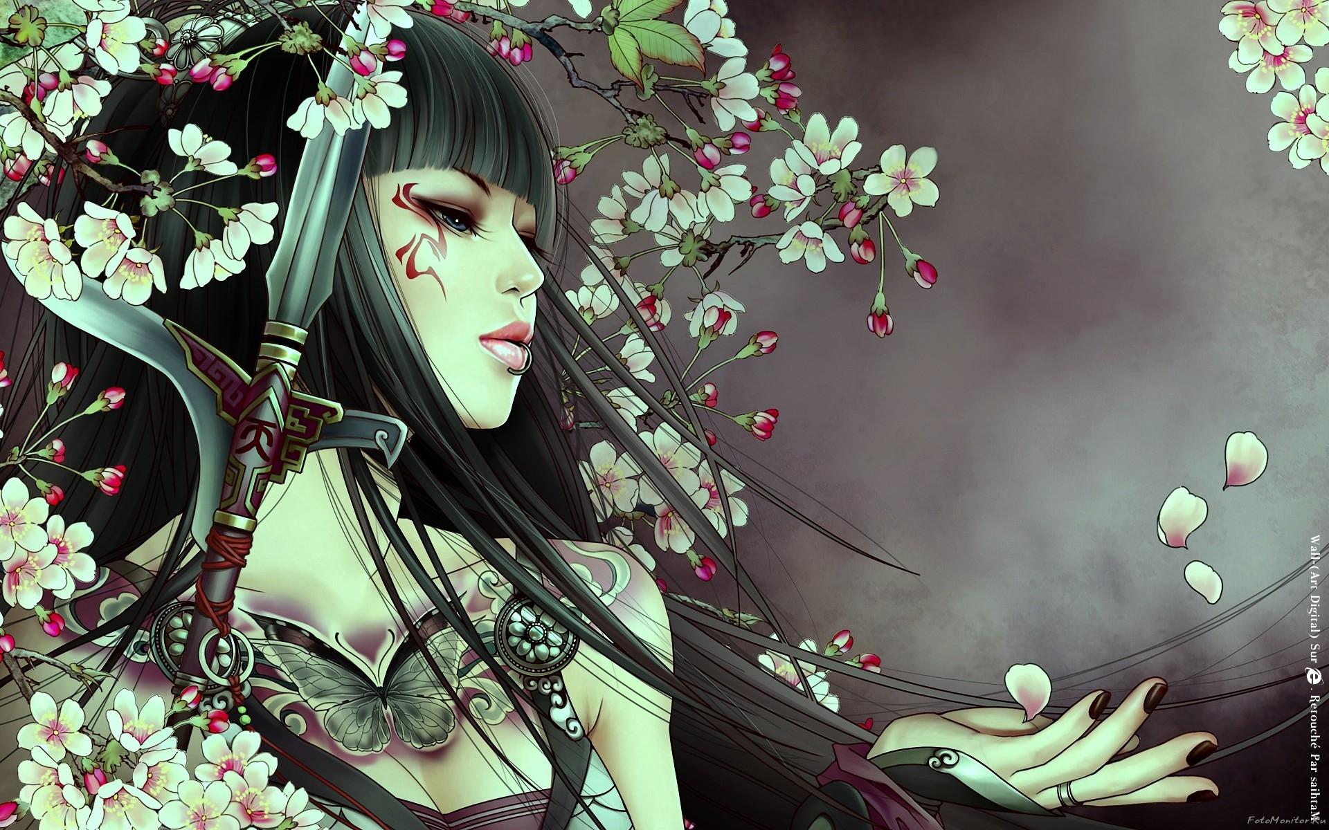 Аниме самурай девушка, хентай, 1920 на 1200 пикселей