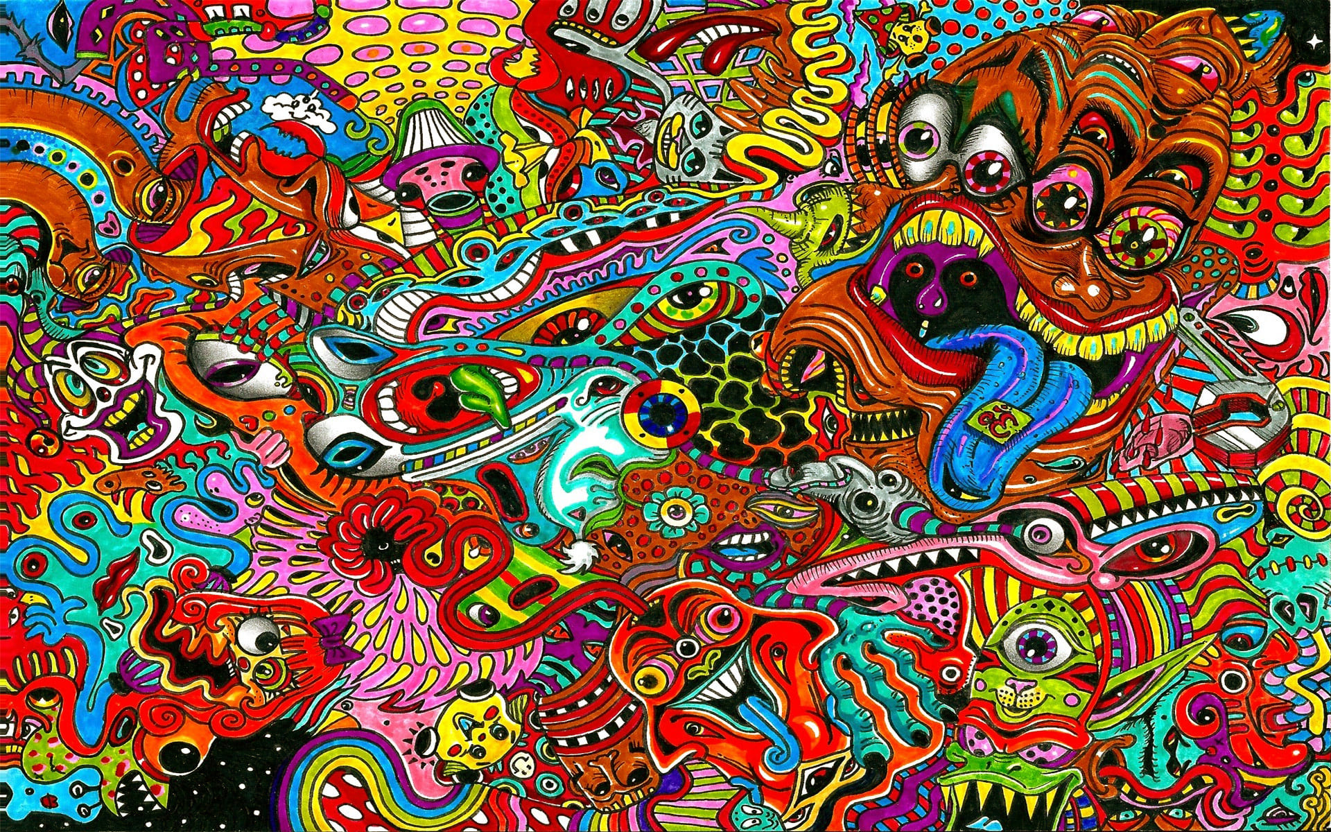 HDoboi.Kiev.ua - Психоделический сюрреалистический рисунок, минимализм на обои телефона