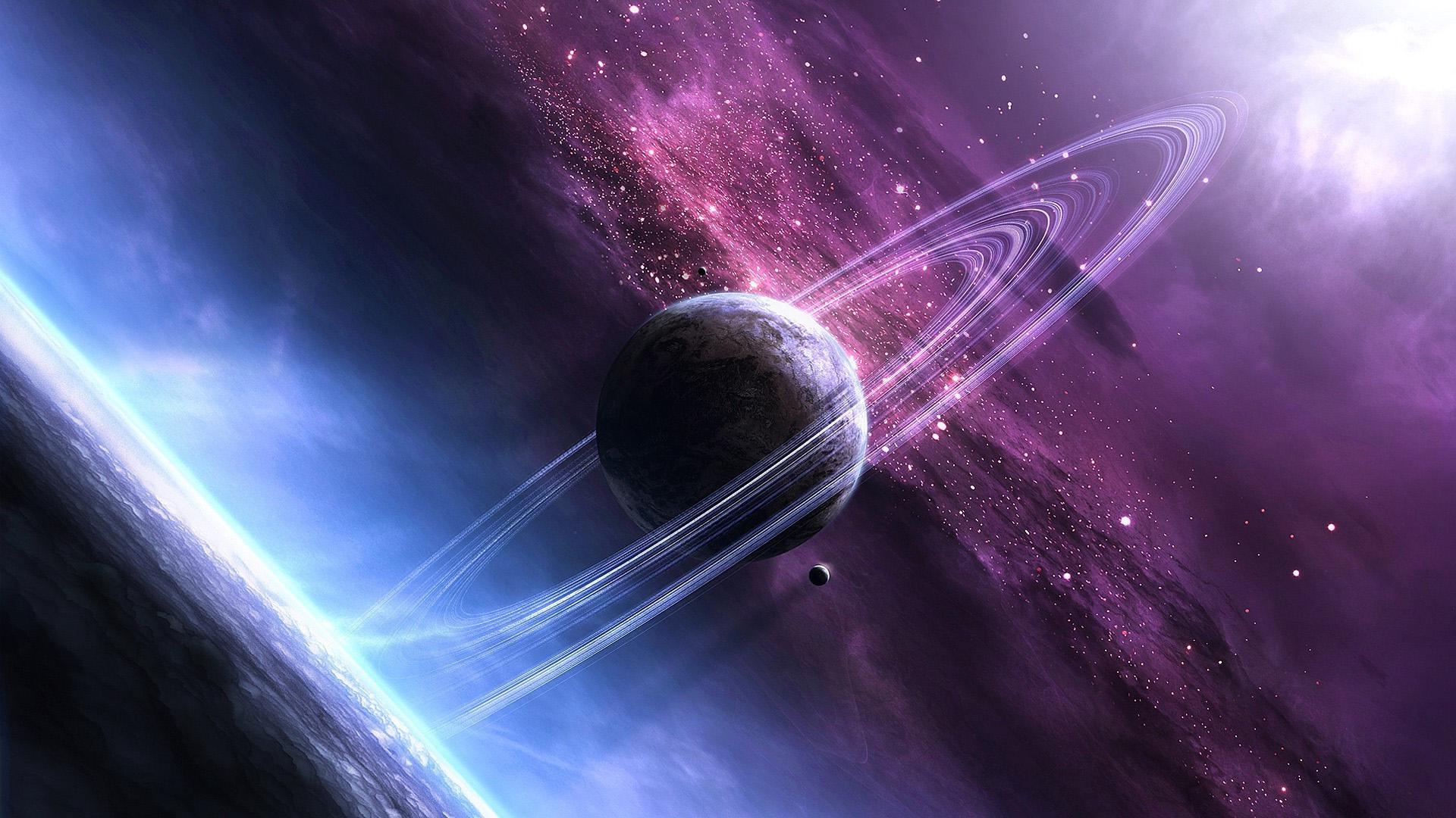 Звездный космос, планета и звезды во вселенной, hd заставки, 1920 на 1080 пикселей