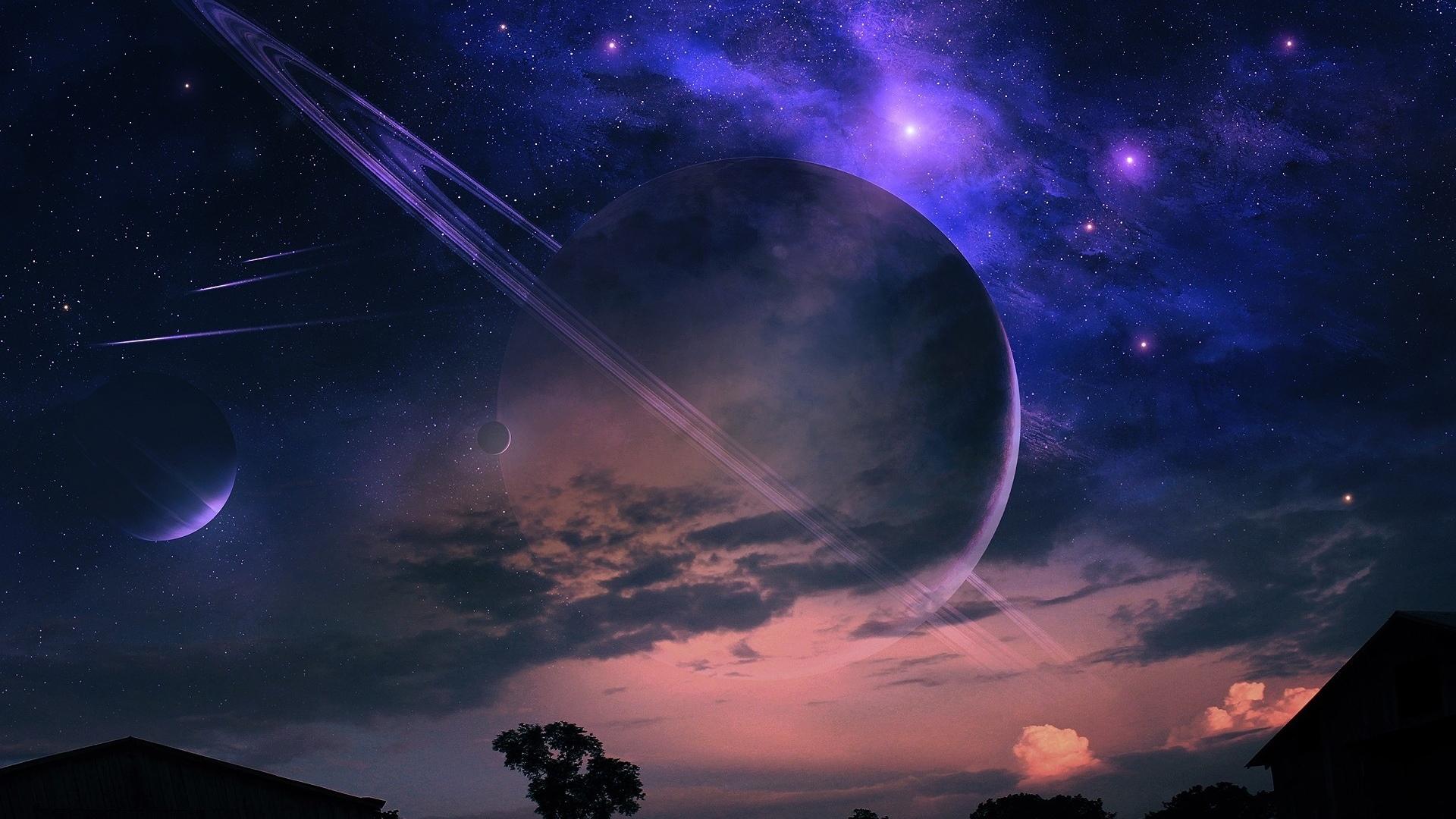 HDoboi.Kiev.ua - Планеты и звезды а небе, обои на телефон про космос, звездное небо