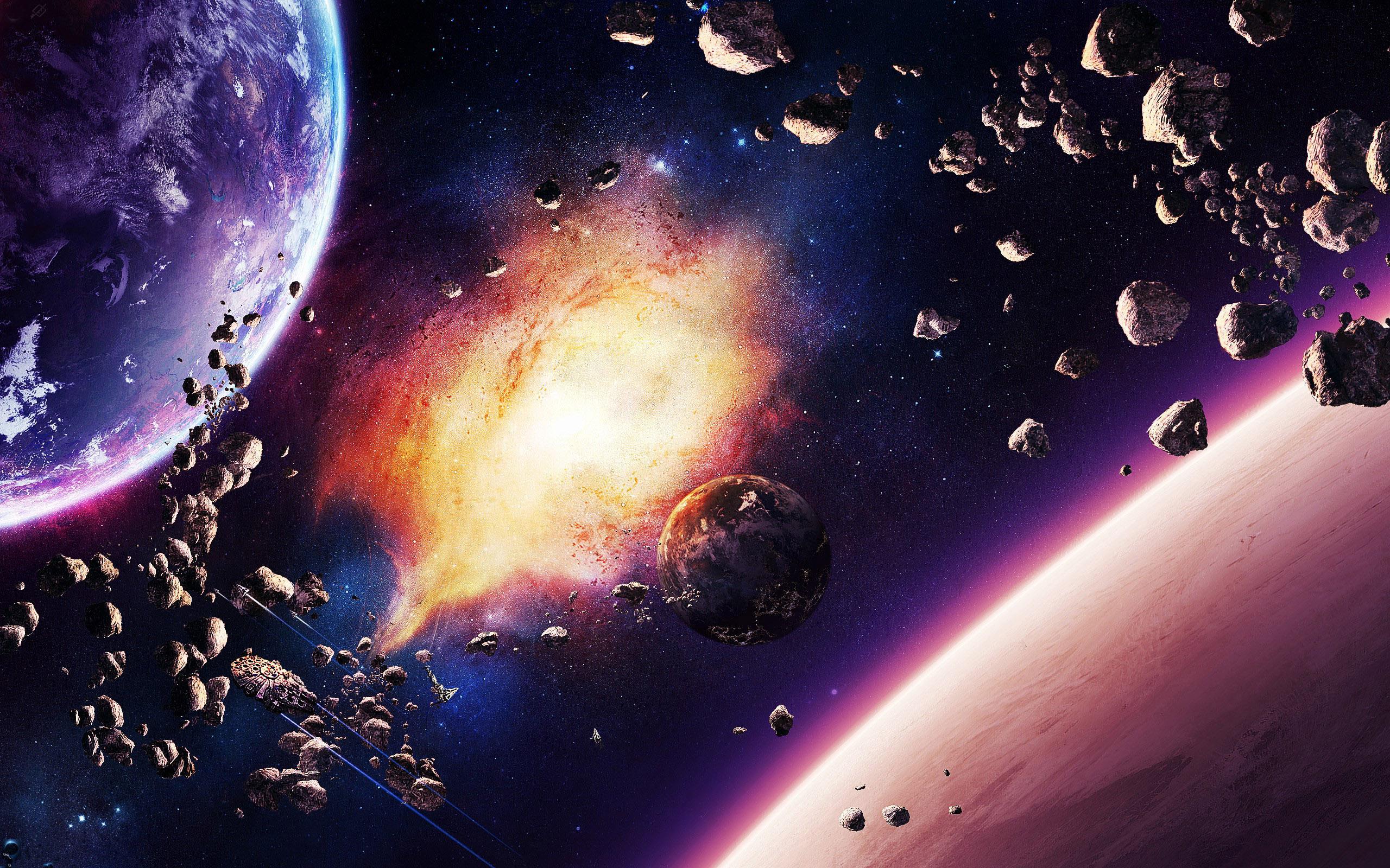 Взрыв на планете в космосе, обои iphone x космос, галактика, 2560 на 1600 пикселей