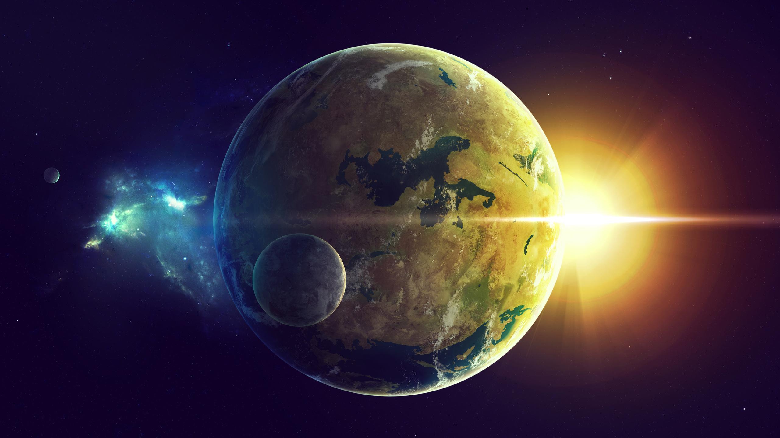 Земля, луна и солнце, обои на телефон галактика космос, 2560 на 1440 пикселей
