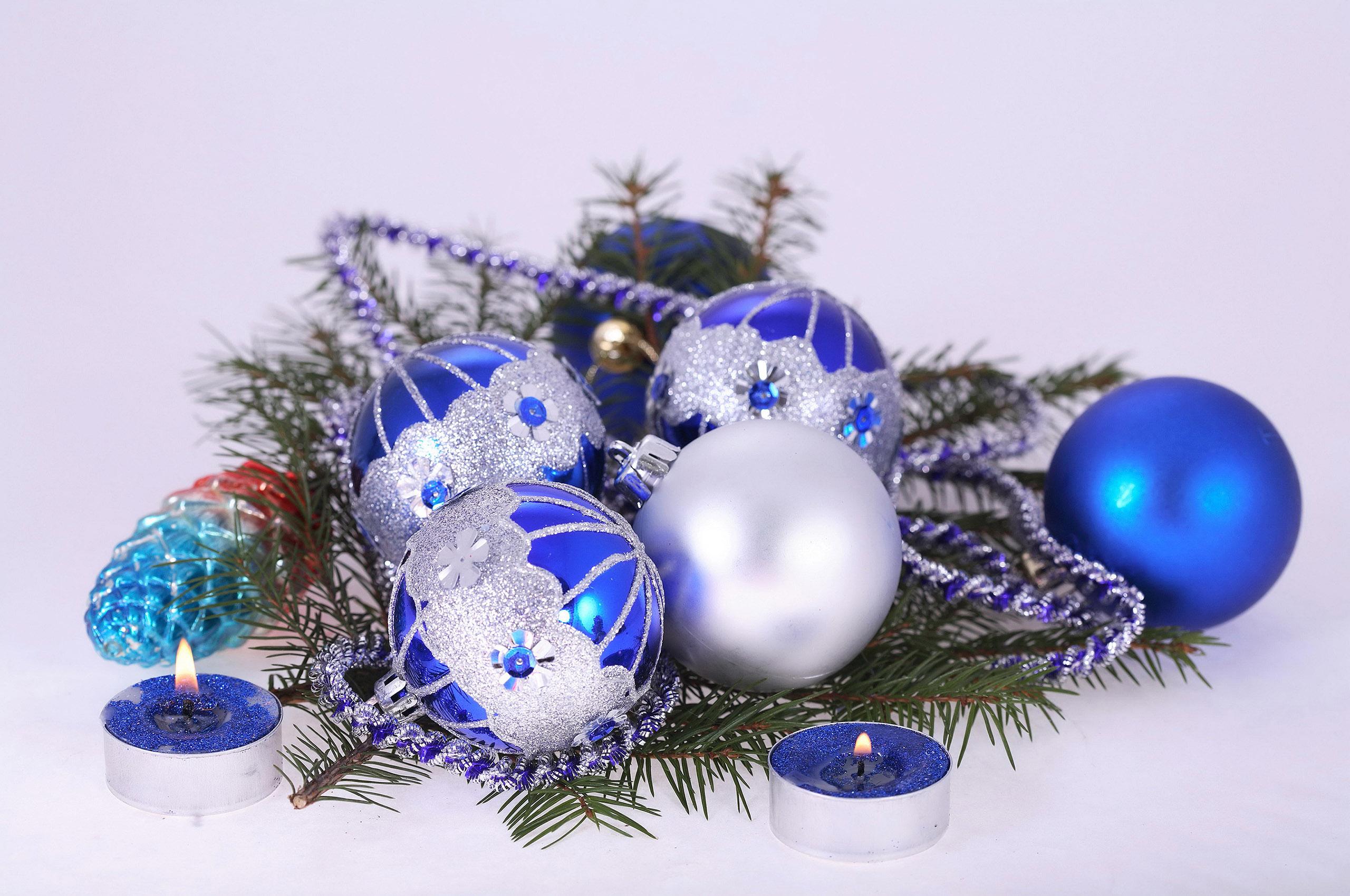 HDoboi.Kiev.ua - Красивые елочные шары синего цвета, new year wallpaper iphone
