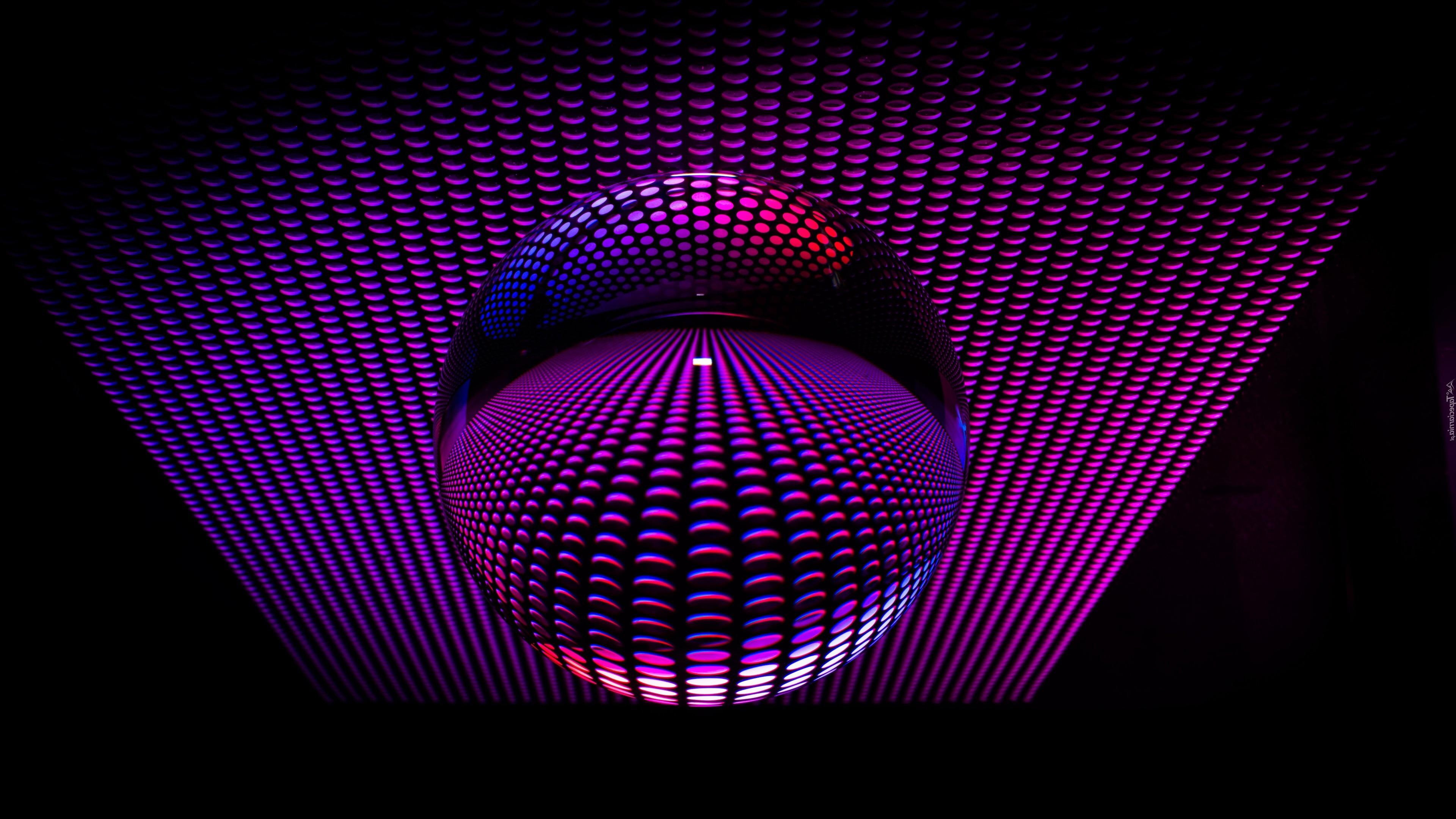 Стеклянная сфера, фиолетовый фон, 3д графика, 3д обои, 3840 на 2160 пикселей