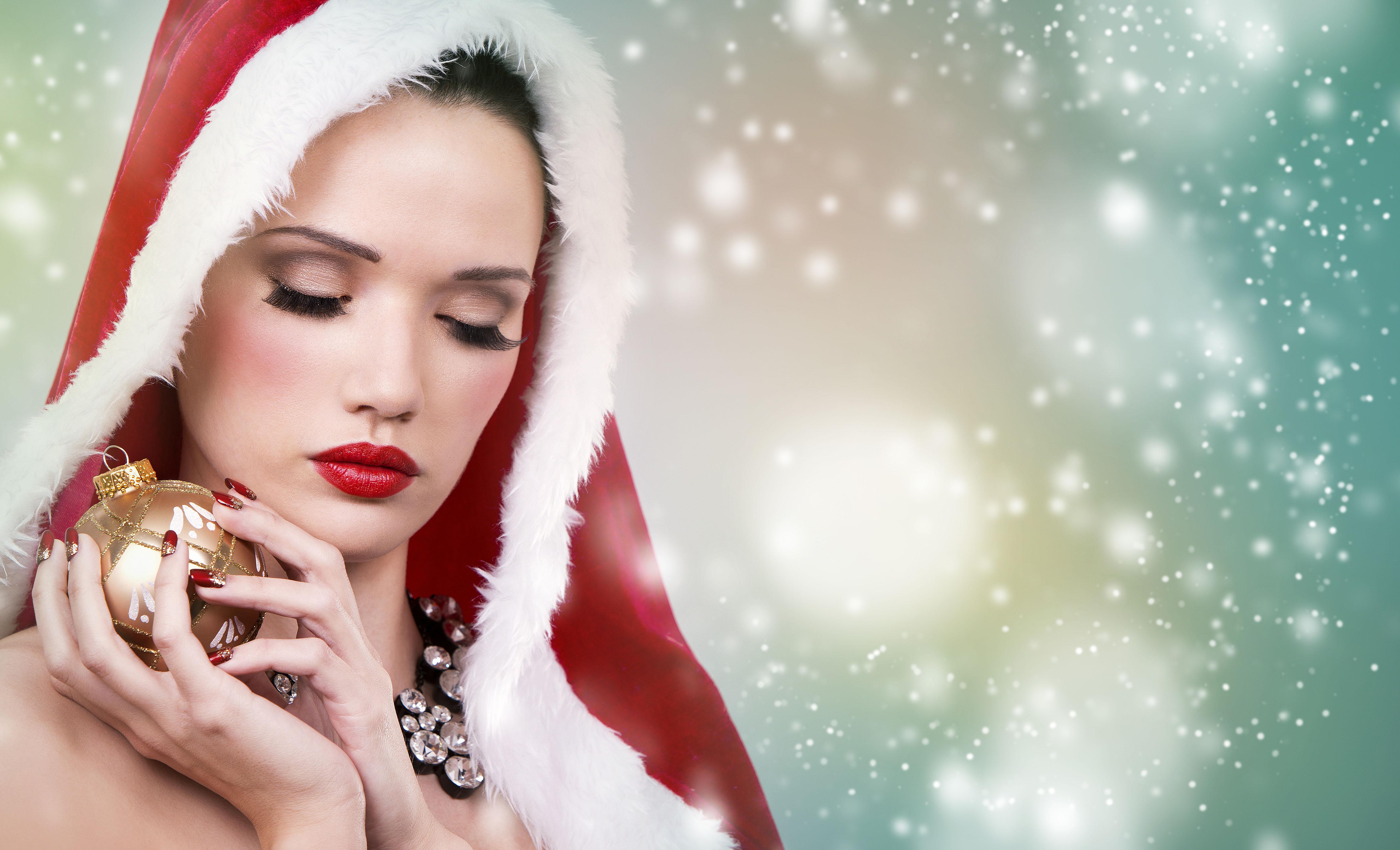 Красивая снегурочка на Новый Год, новогодние обои 2019, 5k ultra hd, 5120 на 3110 пикселей