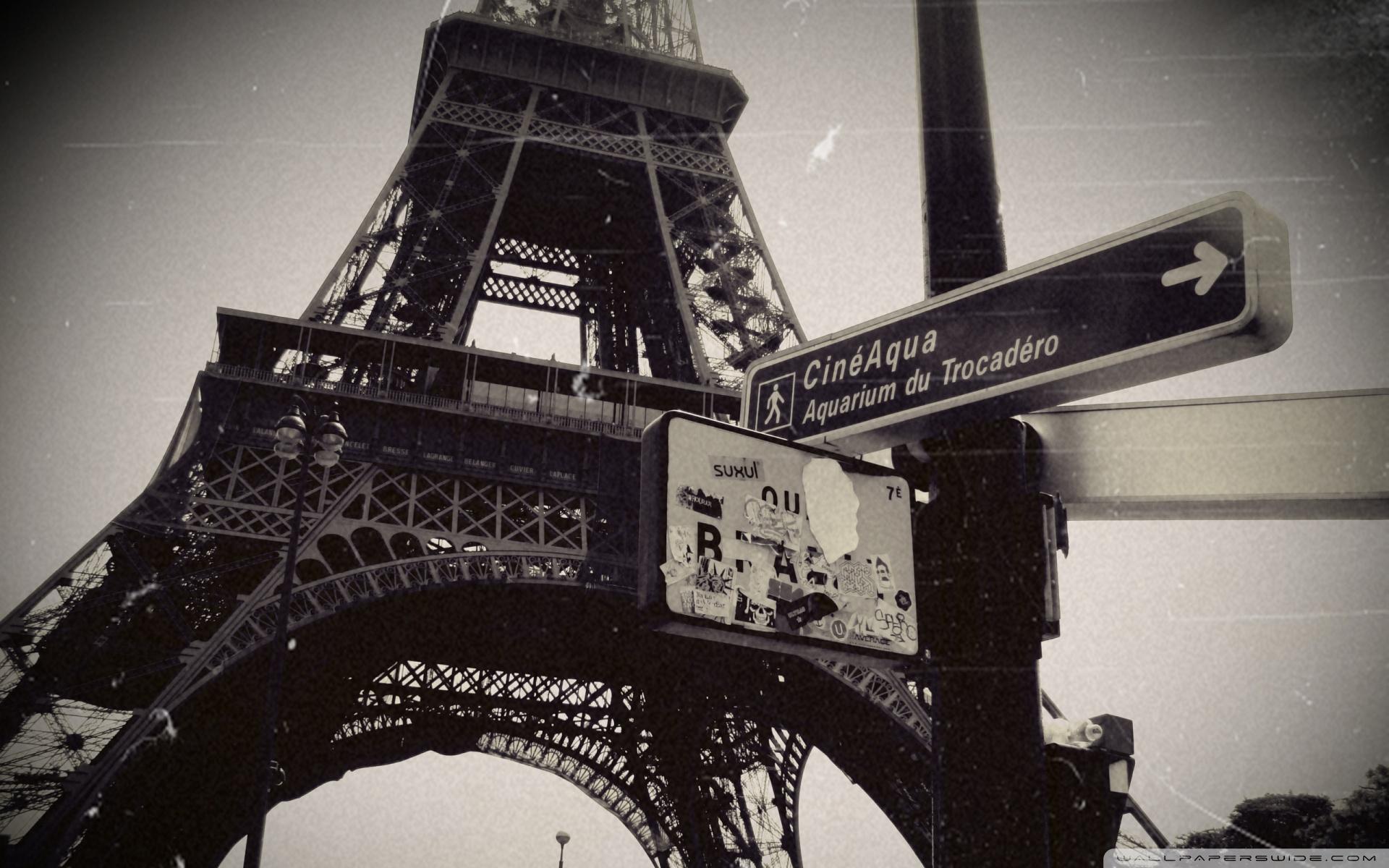 HDoboi.Kiev.ua - Эйфелева башня черно белое фото, Eiffel Tower