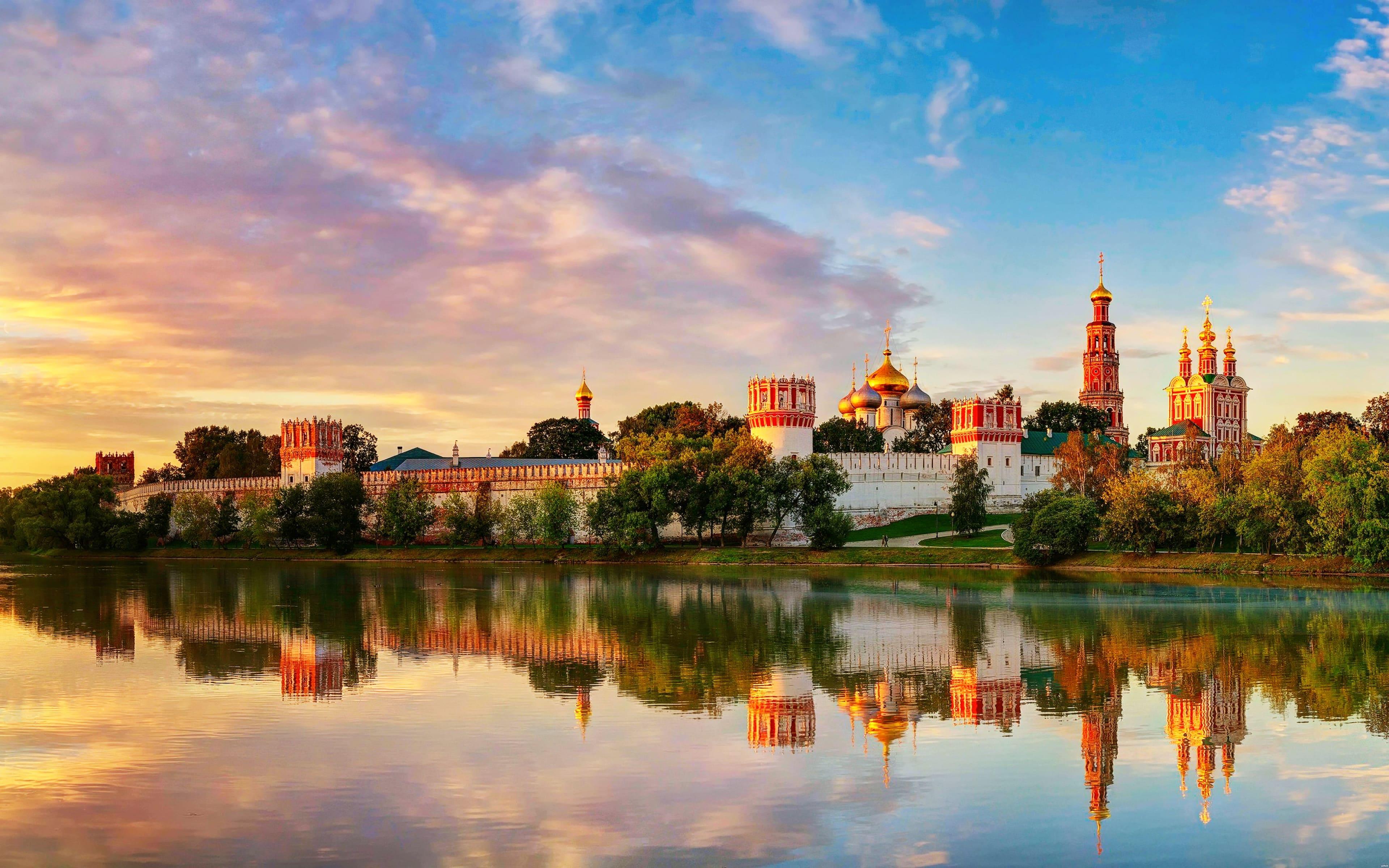 Россия - Москва, Новодевичий Богородице-Смоленский монастырь, 4к обои город, 3840 на 2400 пикселей