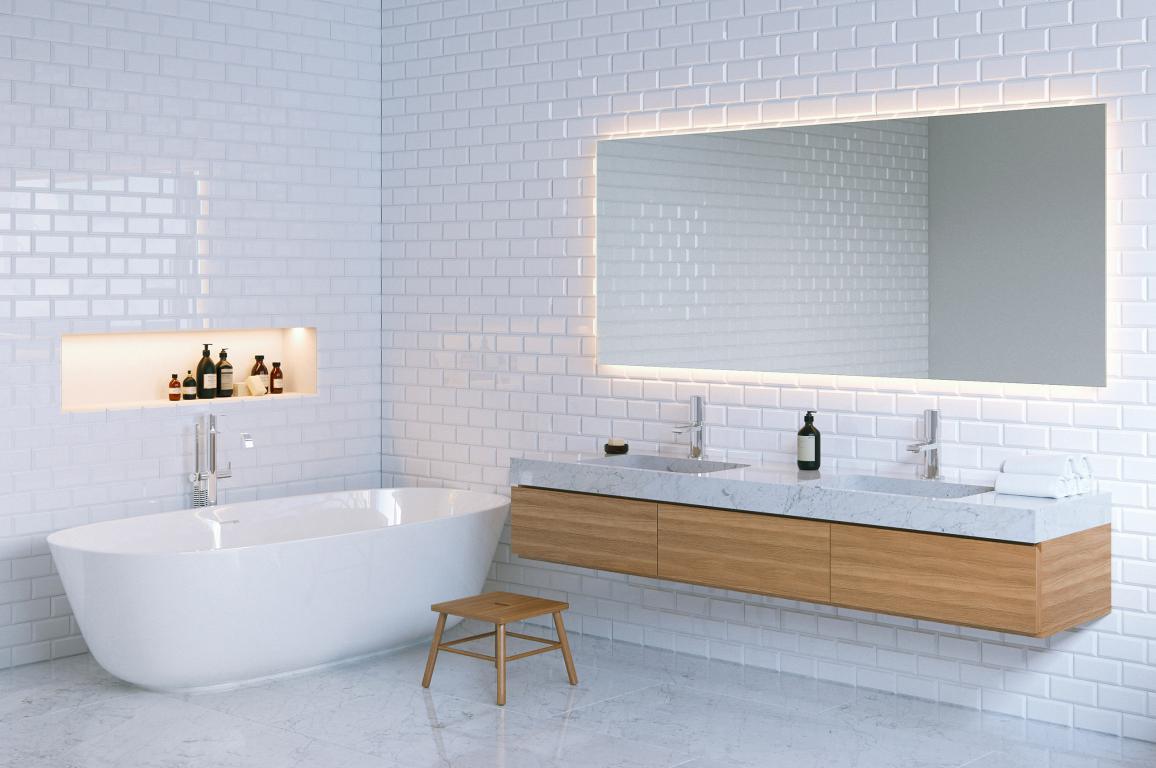 Интерьер ванной комнаты с белыми стенами, 2560 на 1700 пикселей