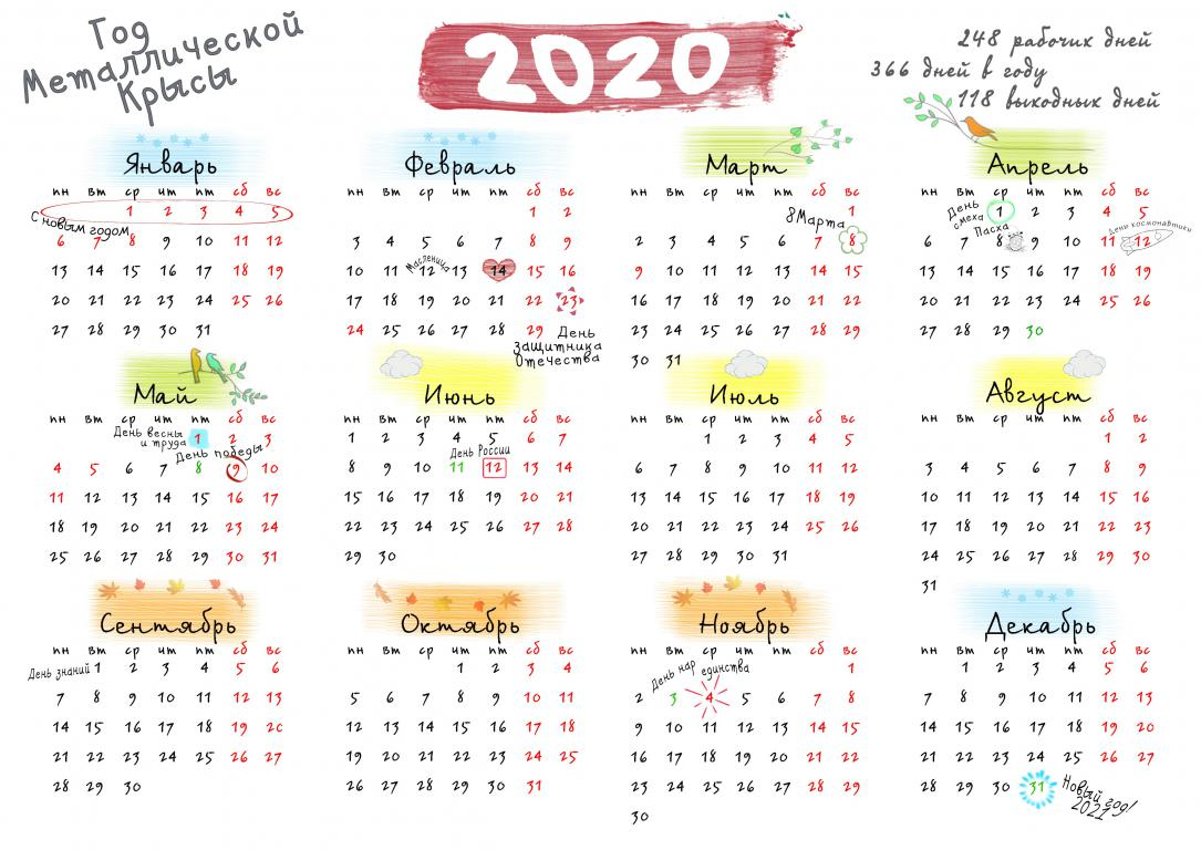 Календарь 2020 года с месяцами, 4961 на 3509 пикселей