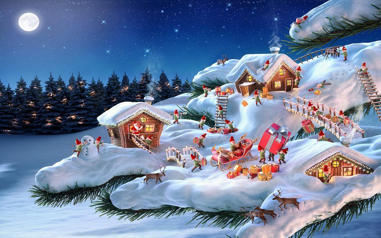 Санта Клаус и его рабочие ельфы в миниатюре, рождественские обои вертикальные, 1920 на 1200 пикселей