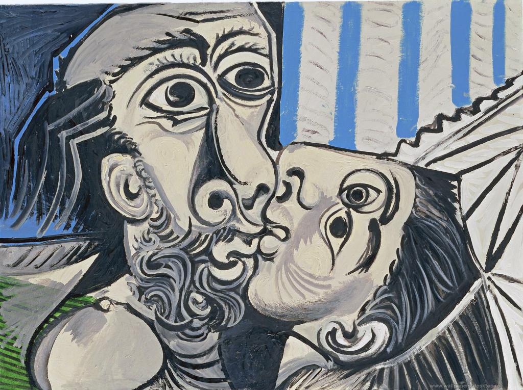 Поцелуй Пикассо, картина, обои на телефон компьютер, искусство, арт, живопись, 1562 на 1168 пикселей