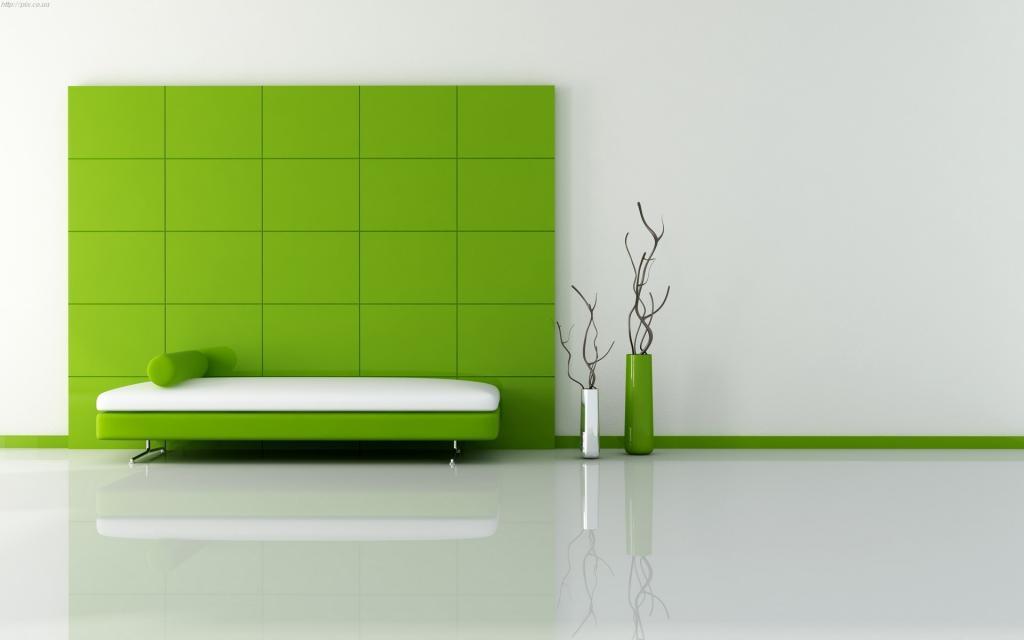 Зелено-белый интерьер с белыми стенами, full hd обои, 1920 на 1200 пикселей