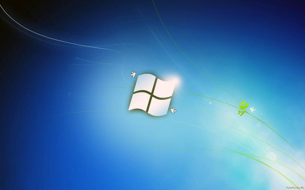 Windows 7, семерка в голубых тонах, 1920 на 1200 пикселей