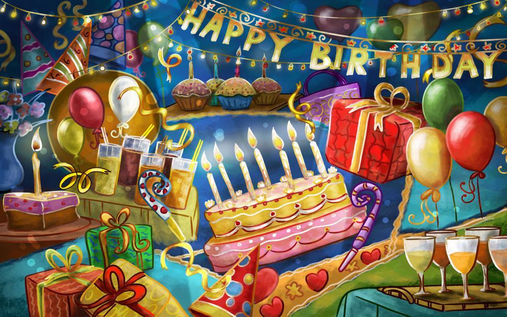 Счастливого Дня Рождения обои на рабочий стол, hd заставки, 1920 на 1200 пикселей