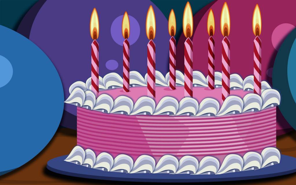 Нарисованный торт со свечами на День Рождения, birthday cake with candles, 1920 на 1200 пикселей