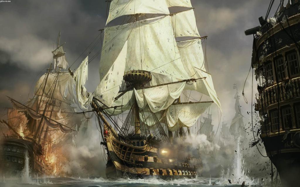 Морской бой кораблей, скачать обои пиратские корабли, 1920 на 1200 пикселей