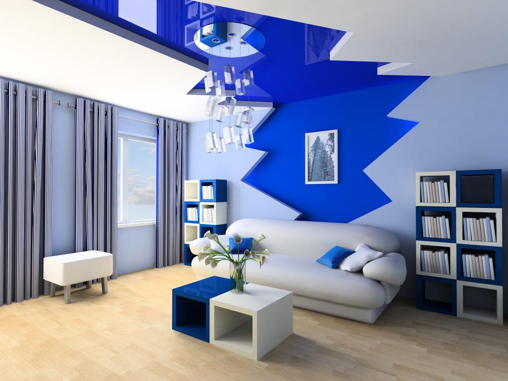 Гостиная комната в серо синих тонах, интерьер, 4000 на 3000 пикселей