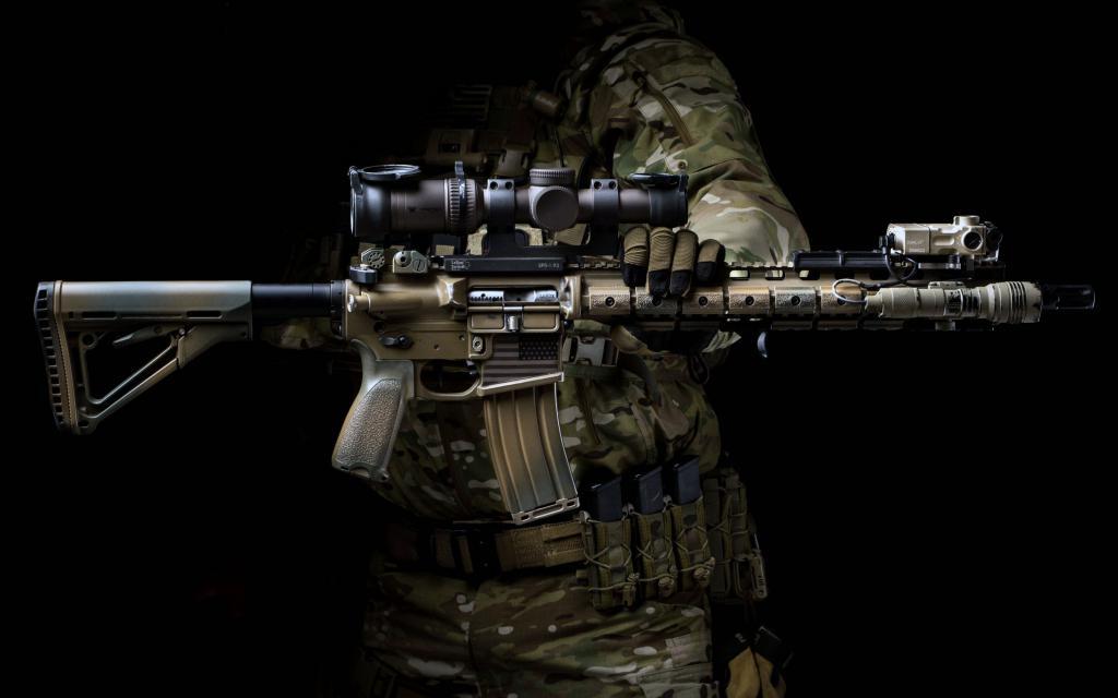 Штурмовая винтовка, камуфляж, обои скачать на рабочий оружие, 2880 на 1800 пикселей