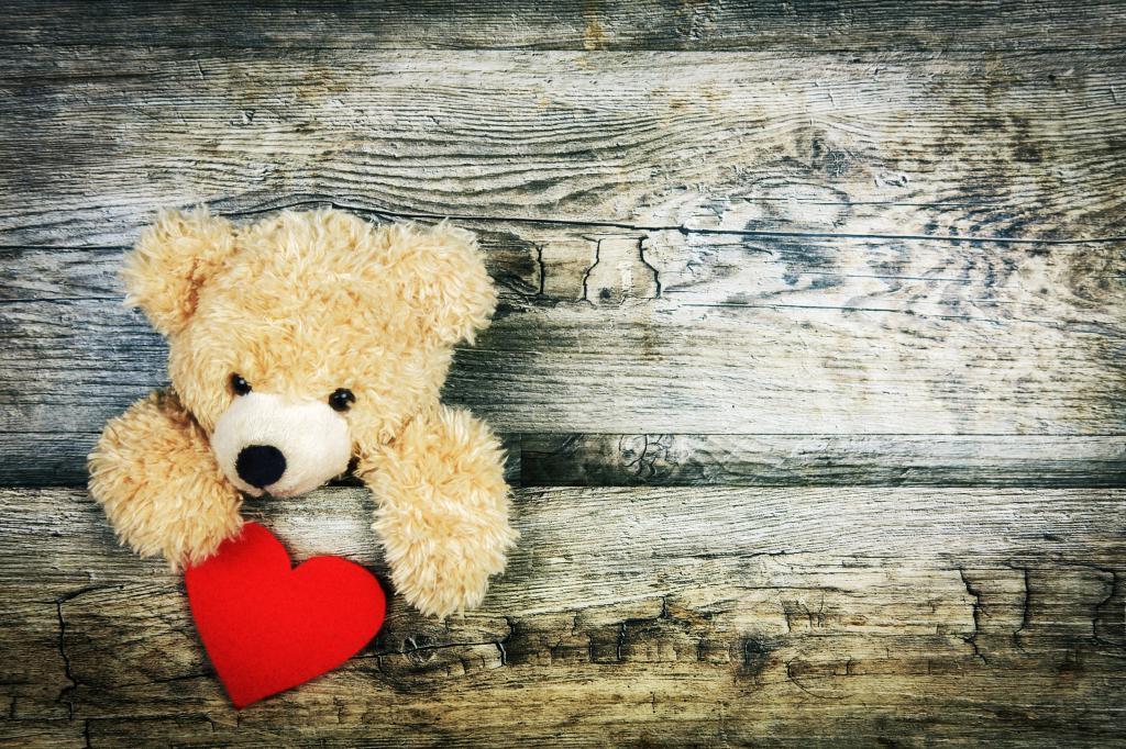 Плюшевый мишка c сердцем в день Святого Валентина 6k, 6000 на 4000 пикселей