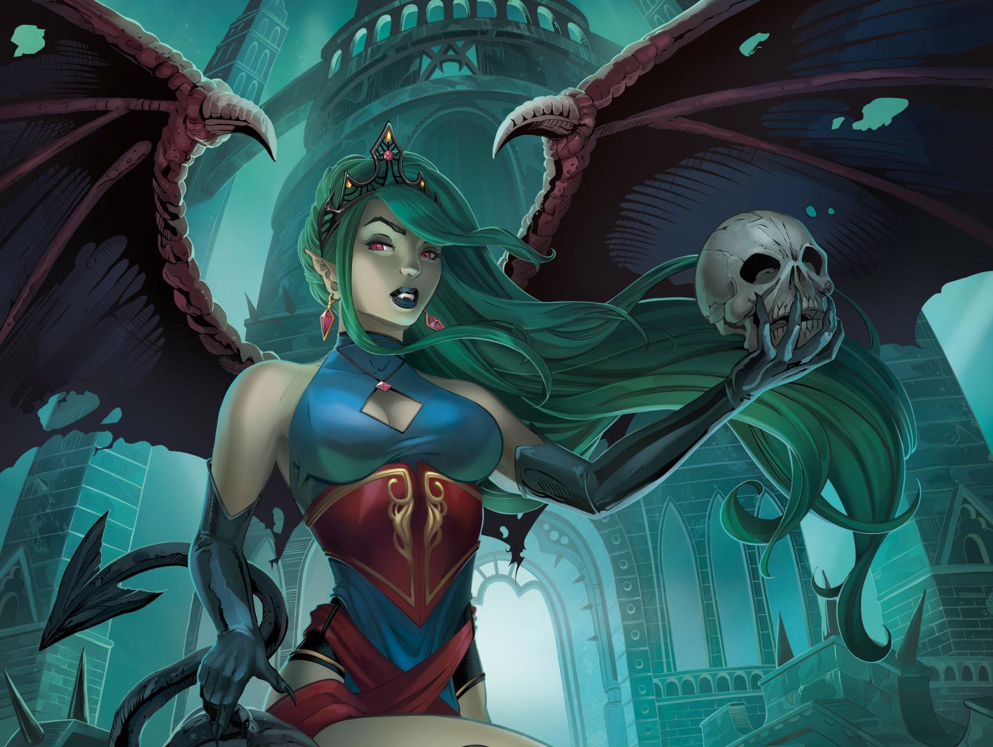 Девушка вампир с зелеными волосами и крыльями с черепом в руках, картинки фэнтези обои, 4960 на 3728 пикселей
