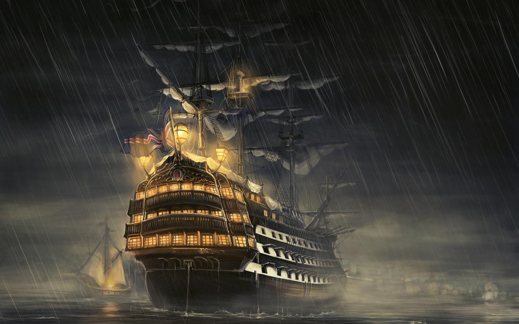 Старый корабль в тумане из мира фэнтези, 2560 на 1600 пикселей