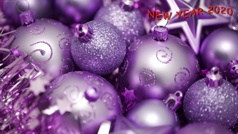 Новогодние фиолетовые шары, новые обои на андроид 2019 года, 3840 на 2160 пикселей