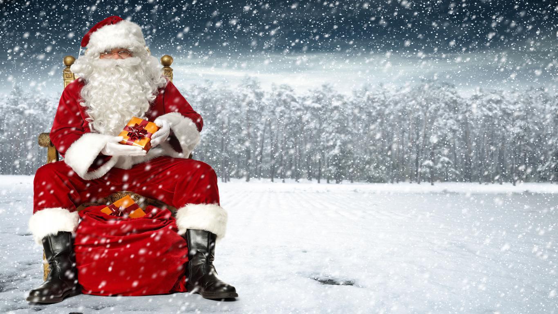 Санта Клаус с подарками на Новый Год, скачать новогодние обои андроид, 5120 на 2880 пикселей