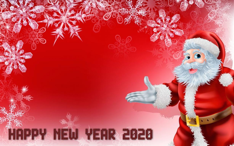 Фон для Новогодней открытки, Дед Мороз со снежинками, 5120 на 3200 пикселей